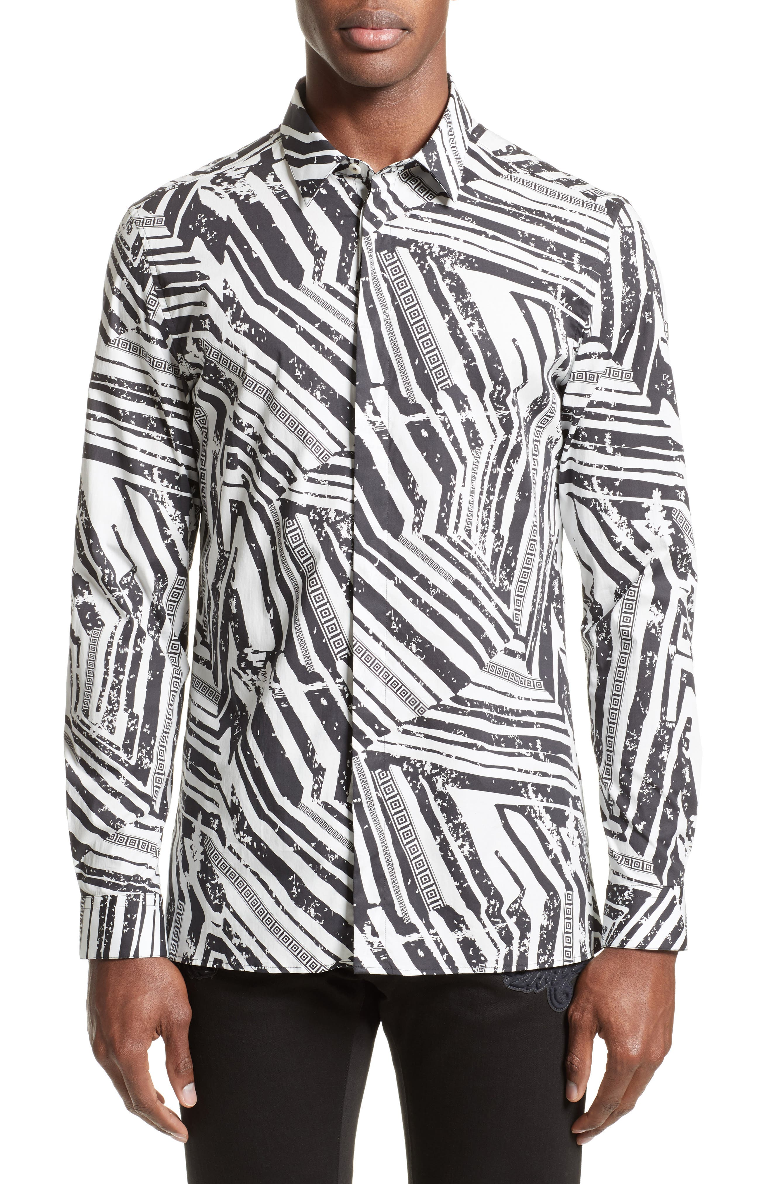Versace Collection Slim Fit Allover Print Sport Shirt