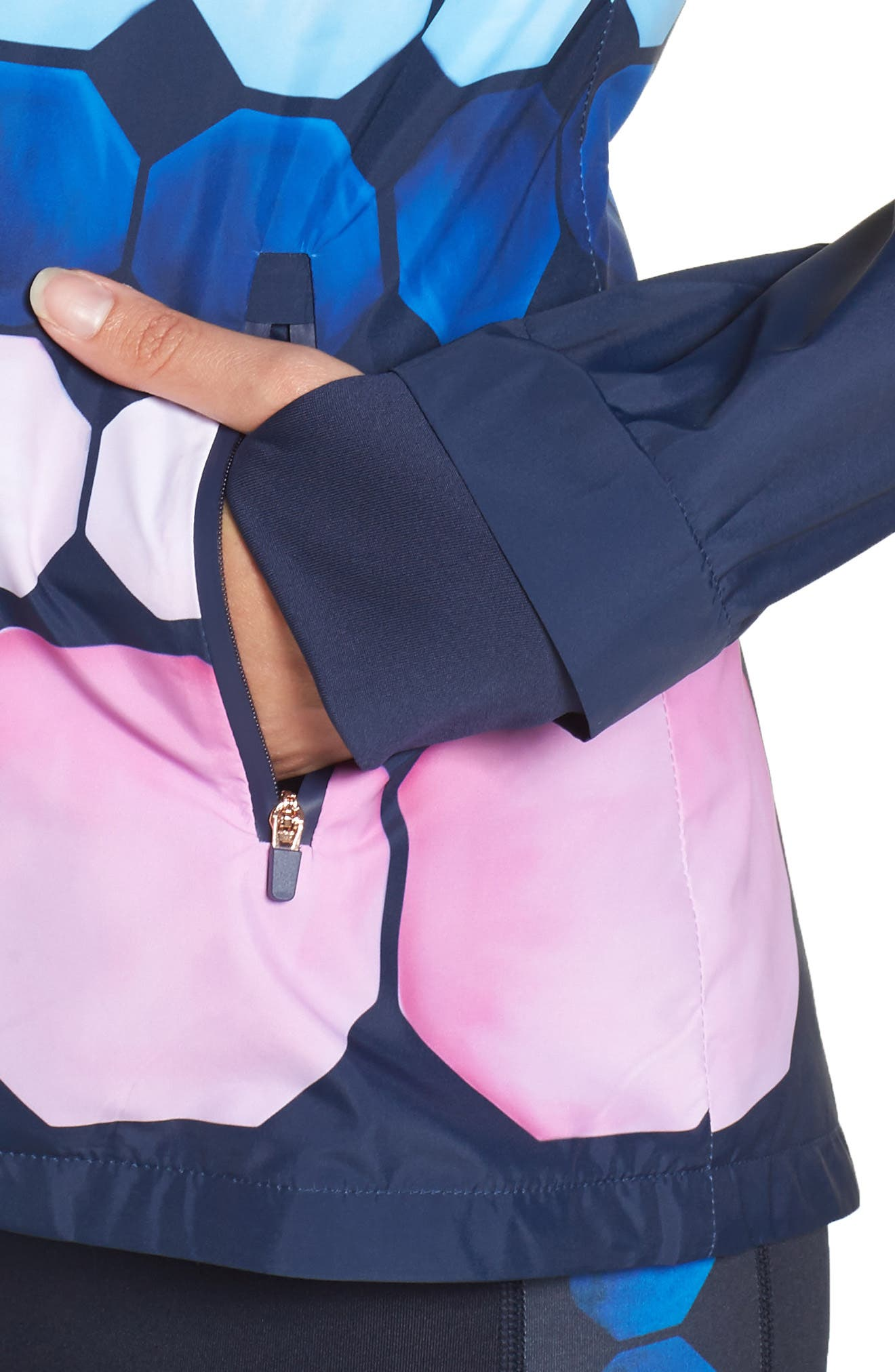 Marina Mosaic Hooded Jacket,                             Alternate thumbnail 4, color,                             Navy