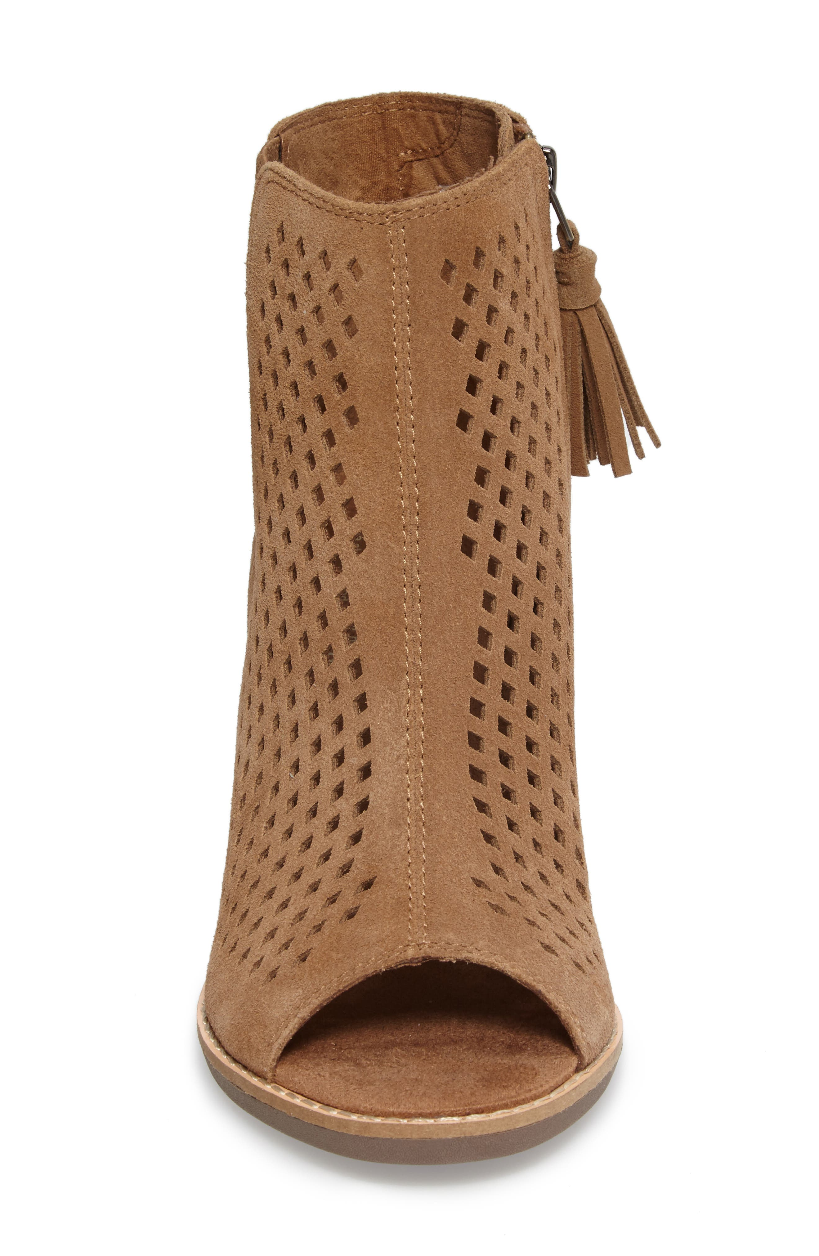 Majorca Peep Toe Bootie,                             Alternate thumbnail 5, color,                             Toffee Suede