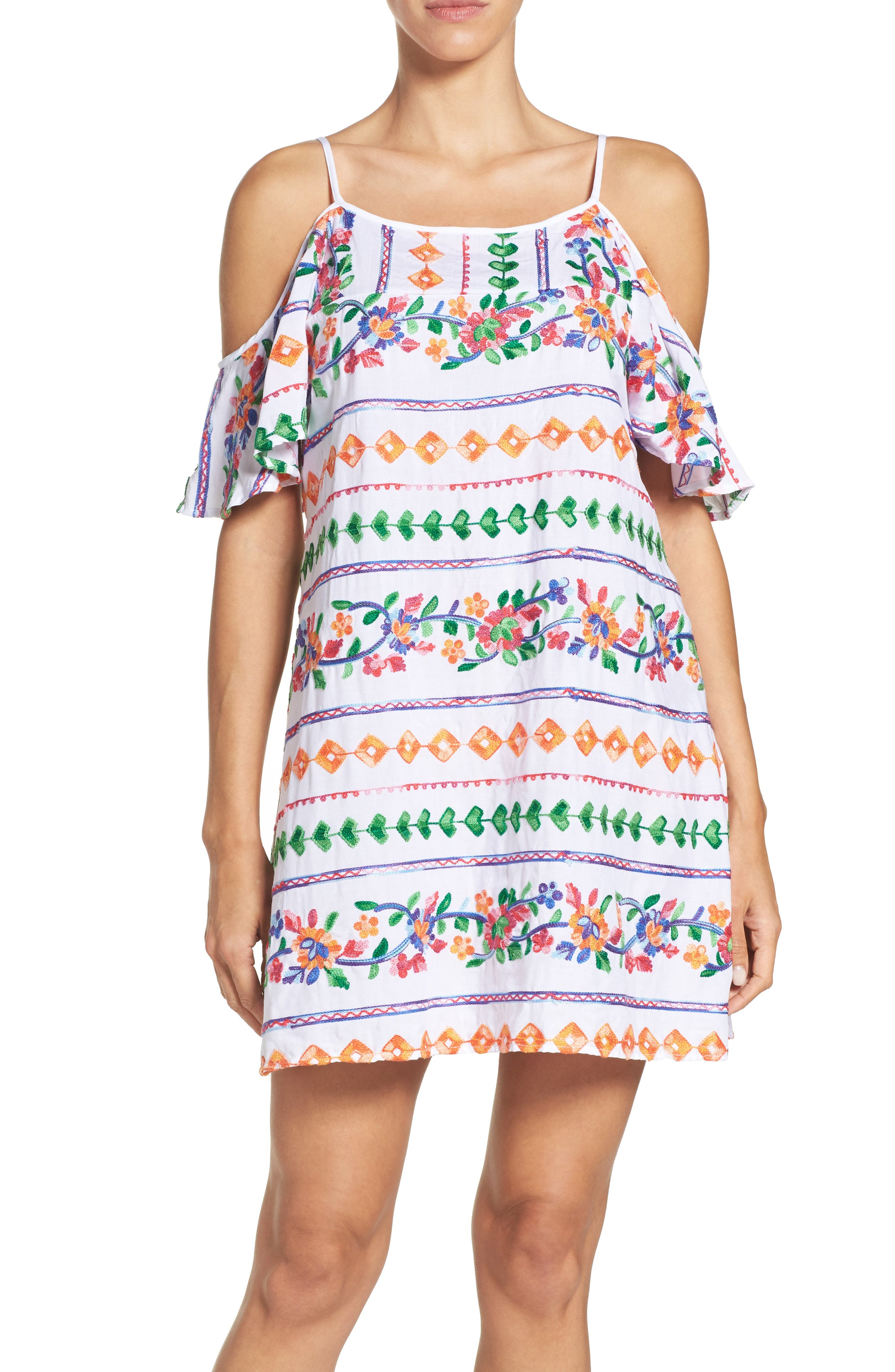 Eden Cover-Up Dress,                             Main thumbnail 1, color,                             Coral Multi