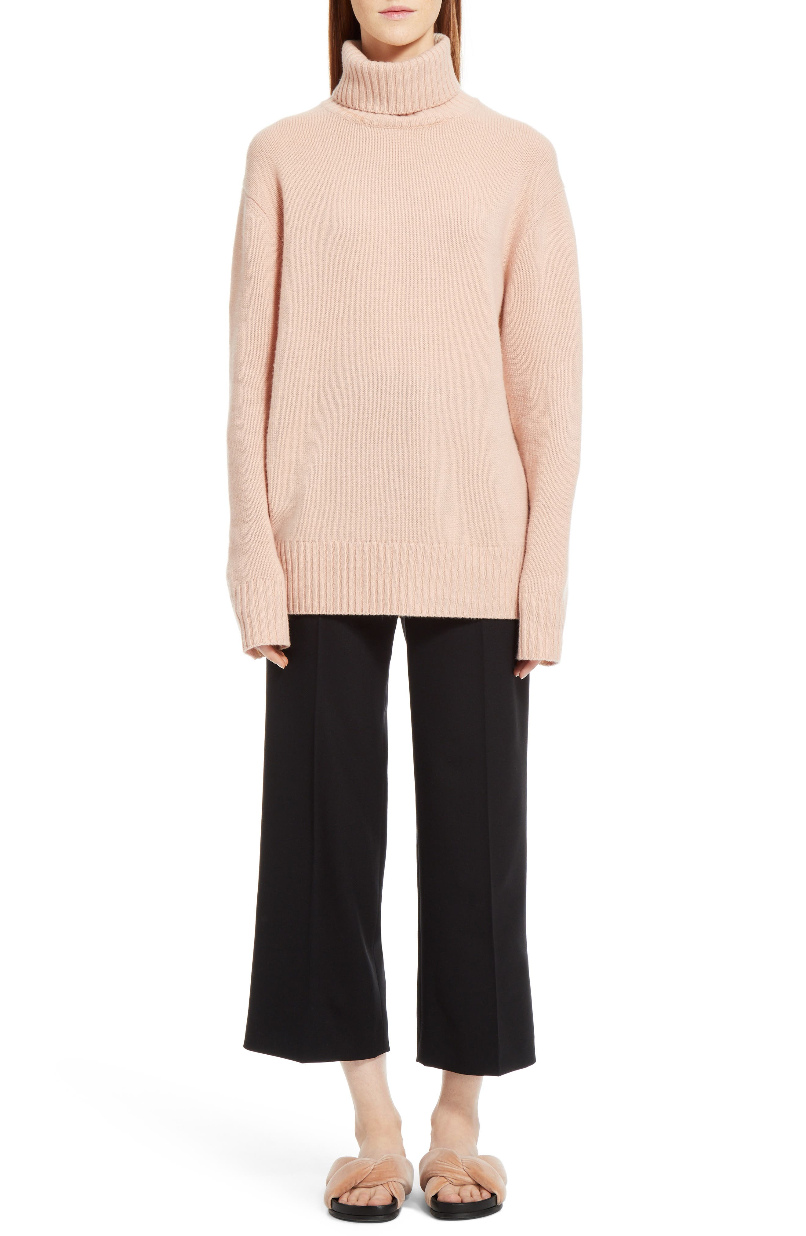 Colorblock Cashmere Turtleneck Sweater,                             Alternate thumbnail 7, color,                             Pink/ Beige