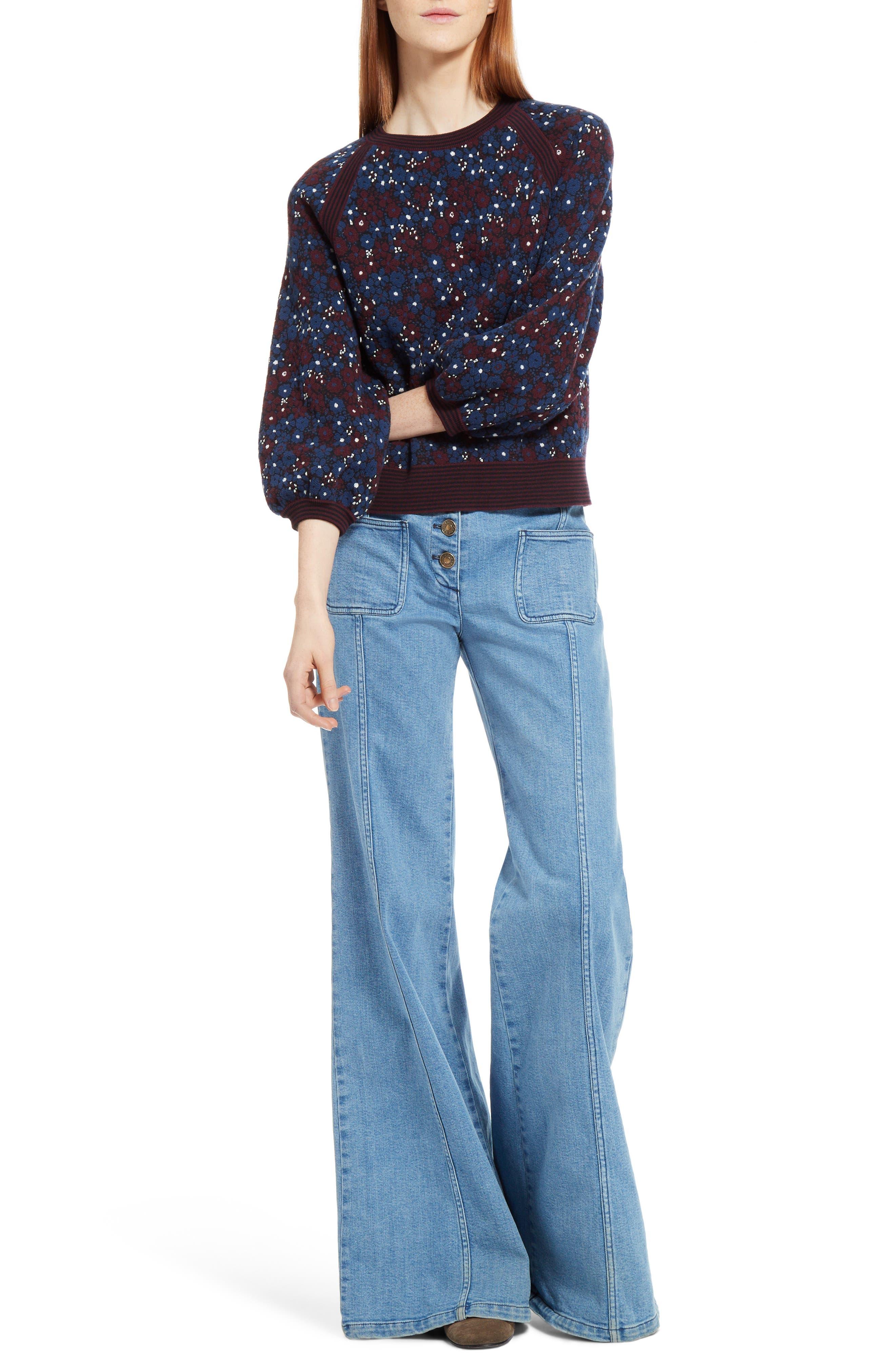 Alternate Image 6  - Chloé Floral Jacquard Sweater