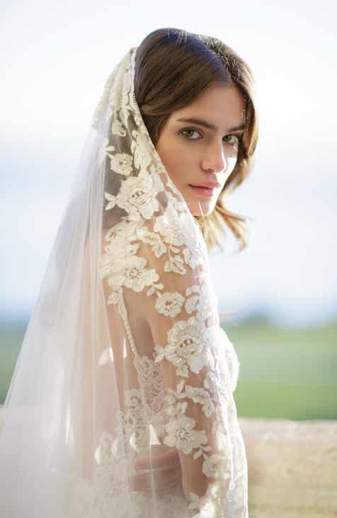 Brides Hairpins Floina Embroidered Cathedral Veil