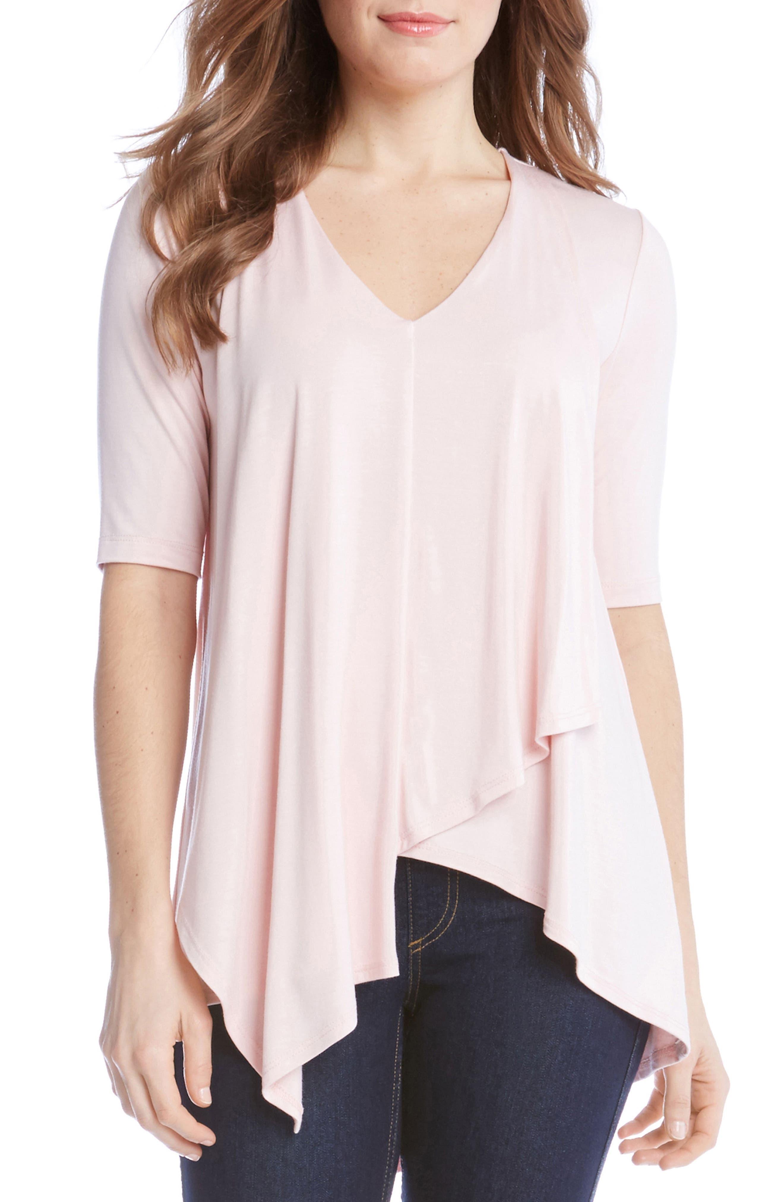 Main Image - Karen Kane Pencil Sleeve Drape Jersey Top