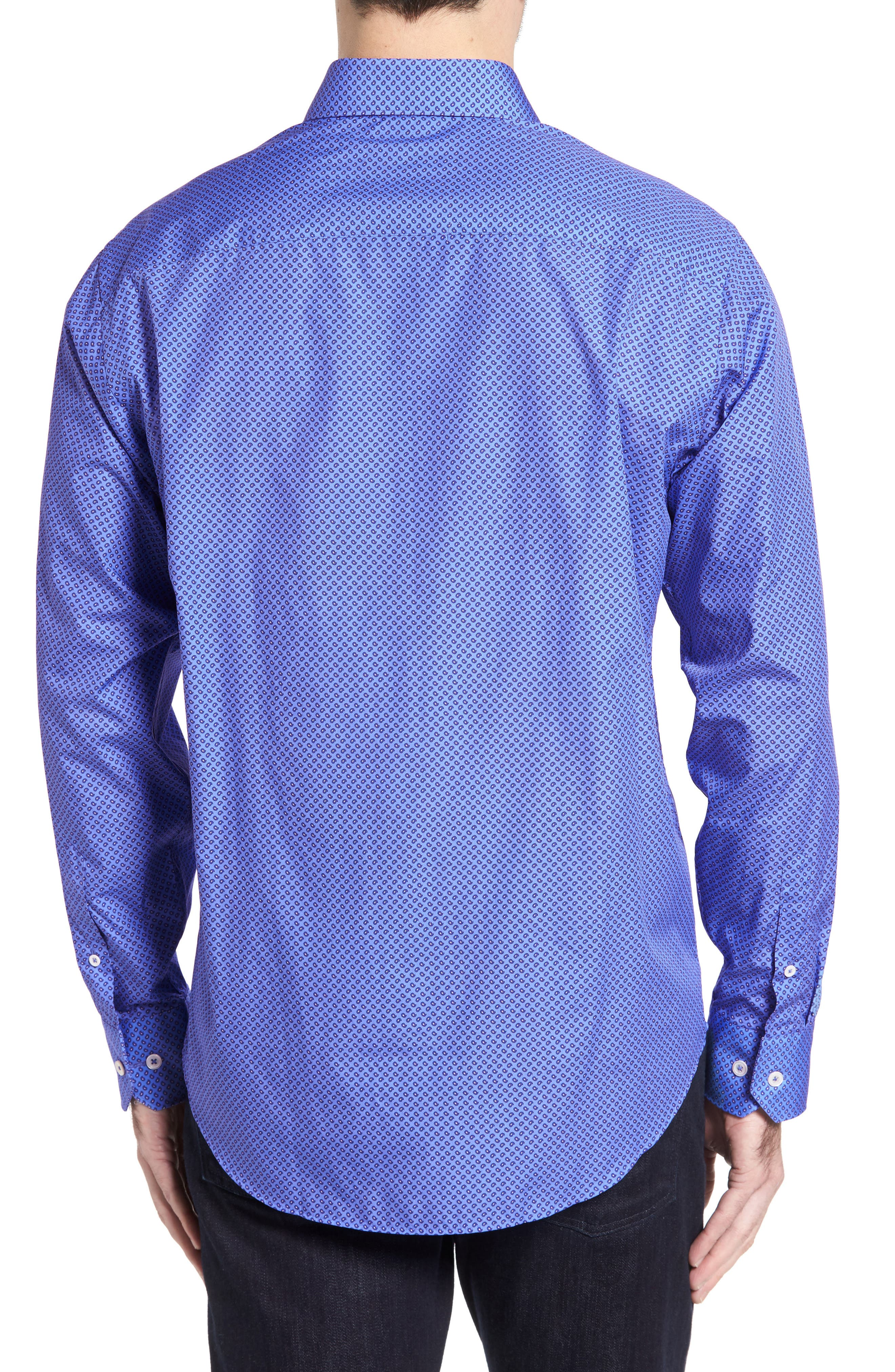 Classic Fit Paisley Print Sport Shirt,                             Alternate thumbnail 2, color,                             Classic Blue
