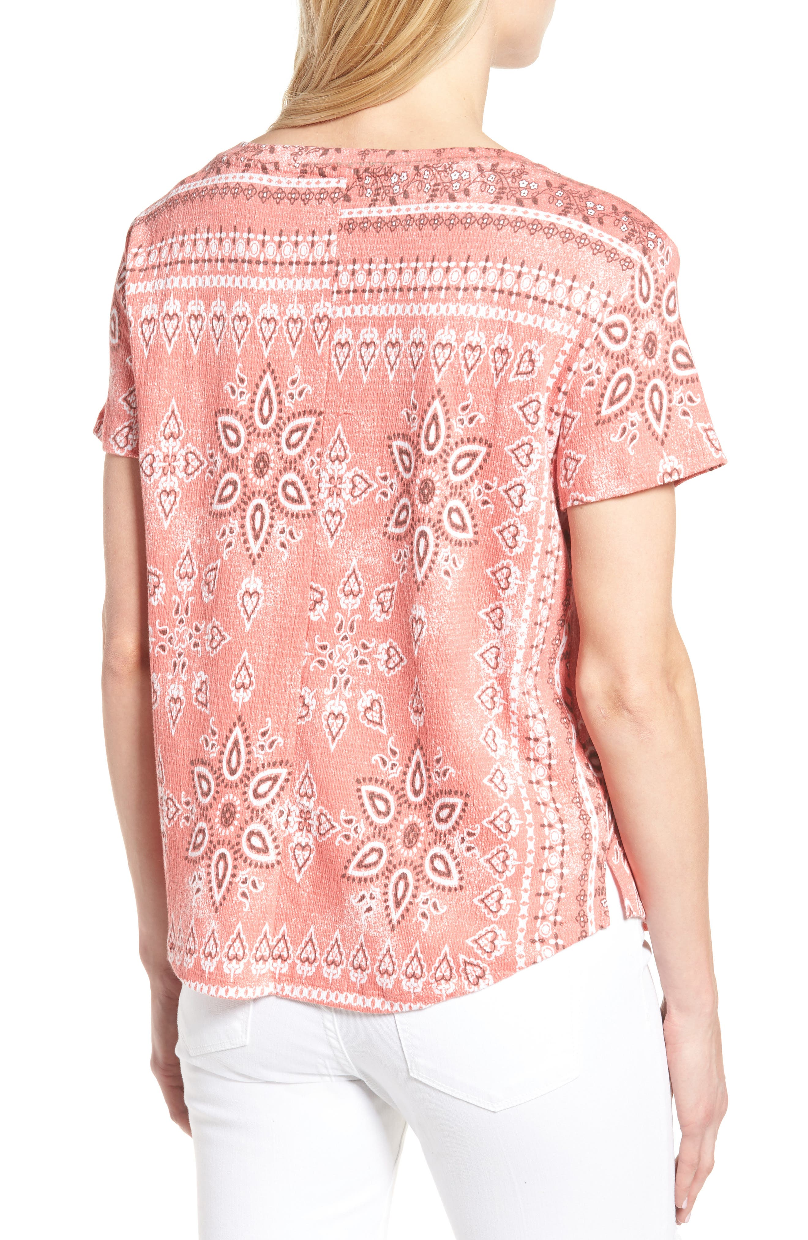 Alternate Image 2  - Caslon® Print Crinkle Cotton Blend Top (Regular & Petite)
