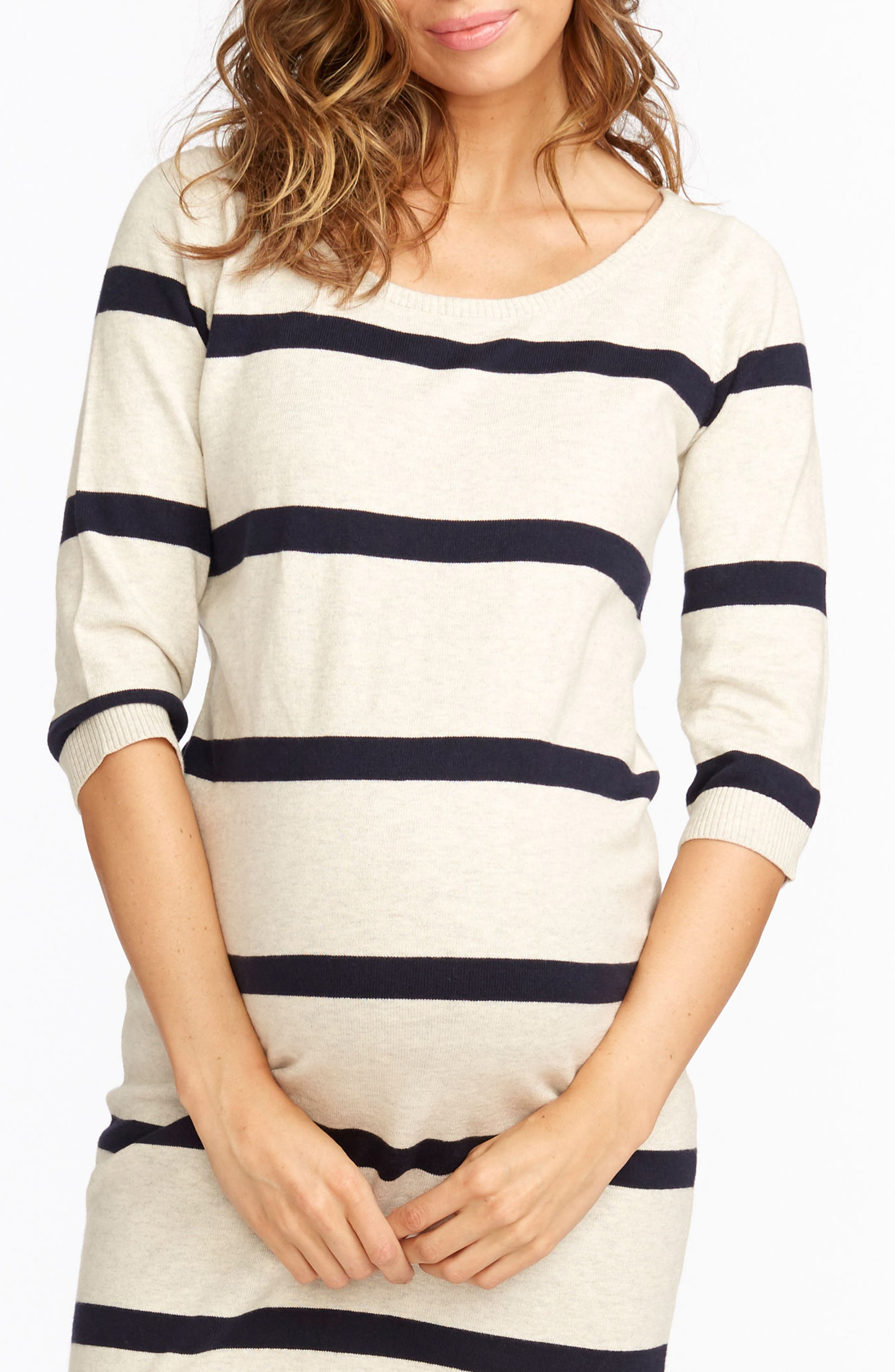 'Harper' Stripe Maternity Sweater Dress,                             Alternate thumbnail 2, color,                             Ivory Heather/ Navy