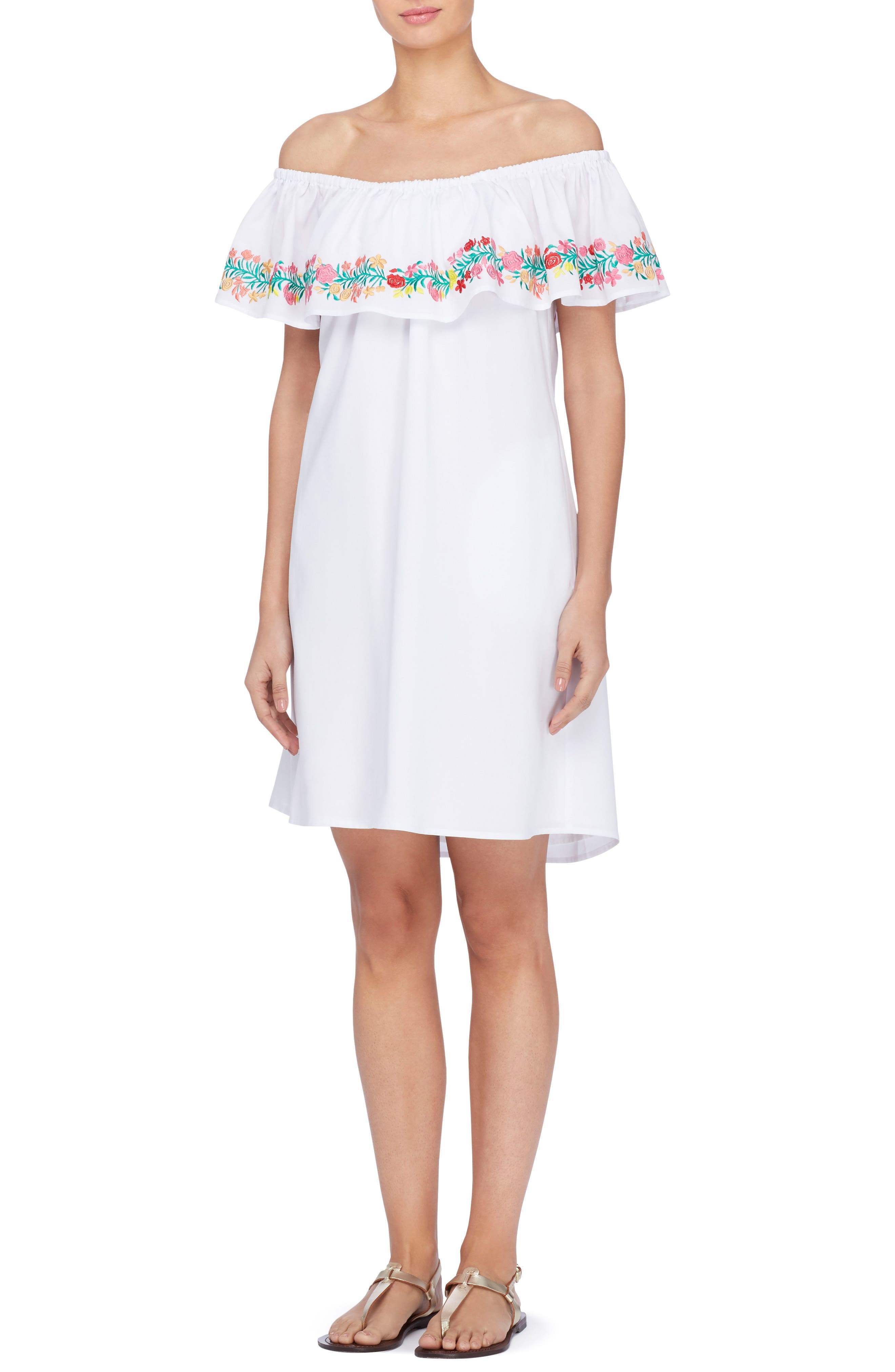 Leonie Embroidered Ruffle Shift Dress,                             Main thumbnail 1, color,                             Bright White