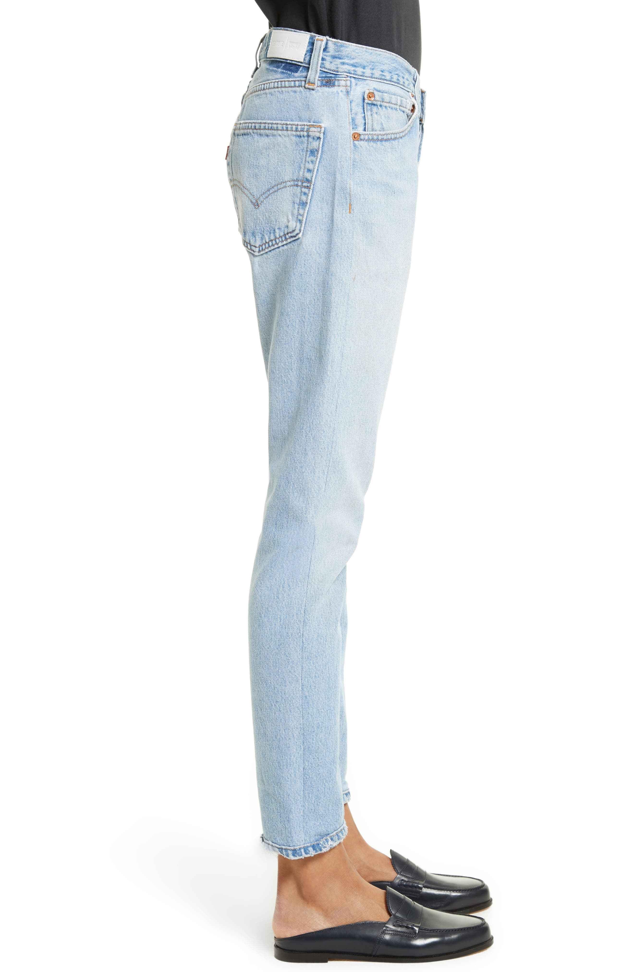 Reconstructed Relaxed Straight Jeans,                             Alternate thumbnail 3, color,                             No Destruction