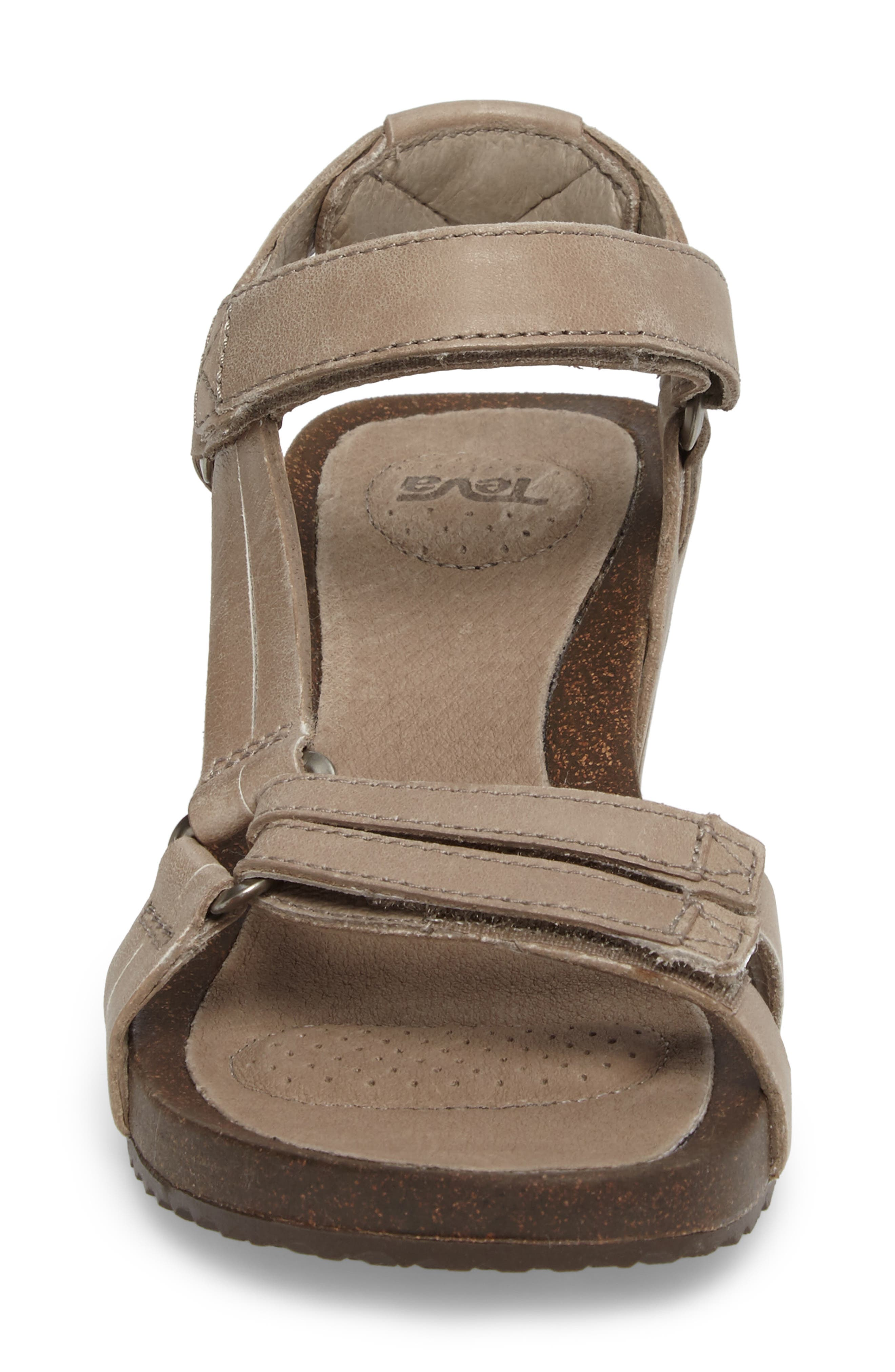 Ysidro Wedge Sandal,                             Alternate thumbnail 4, color,                             Taupe Leather