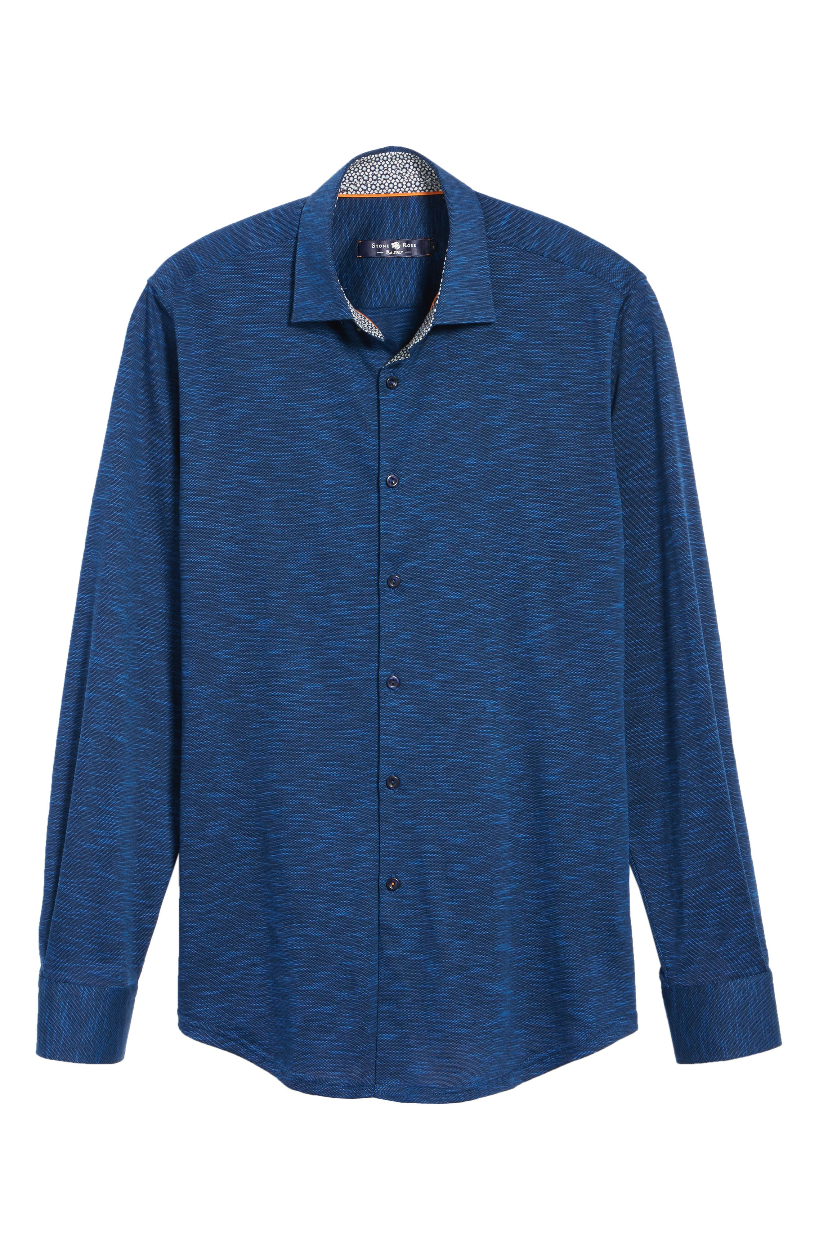 Flamé Knit Sport Shirt,                             Alternate thumbnail 6, color,                             Navy