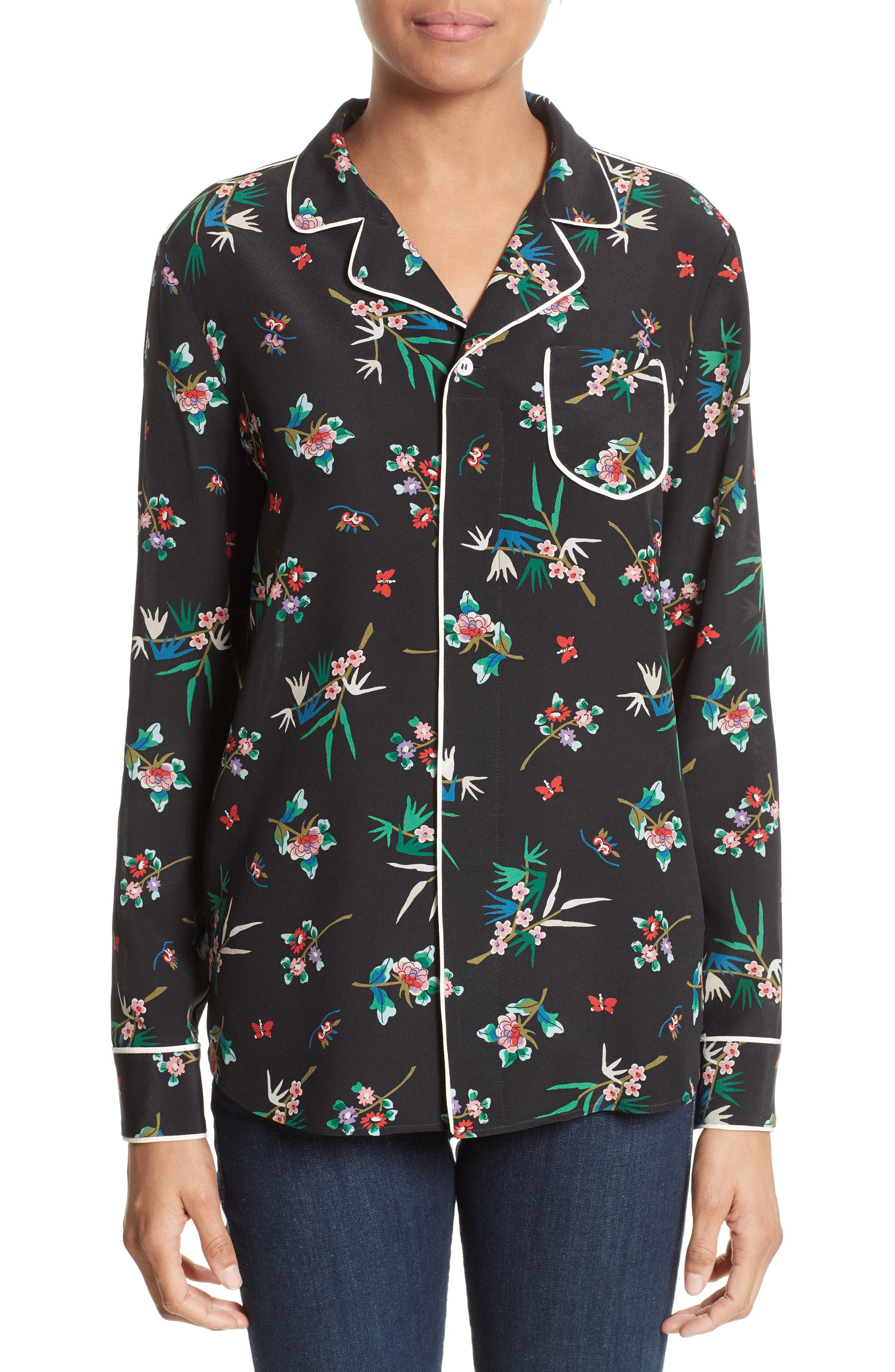 RED Valentino Wallpaper Floral Print Silk Blouse