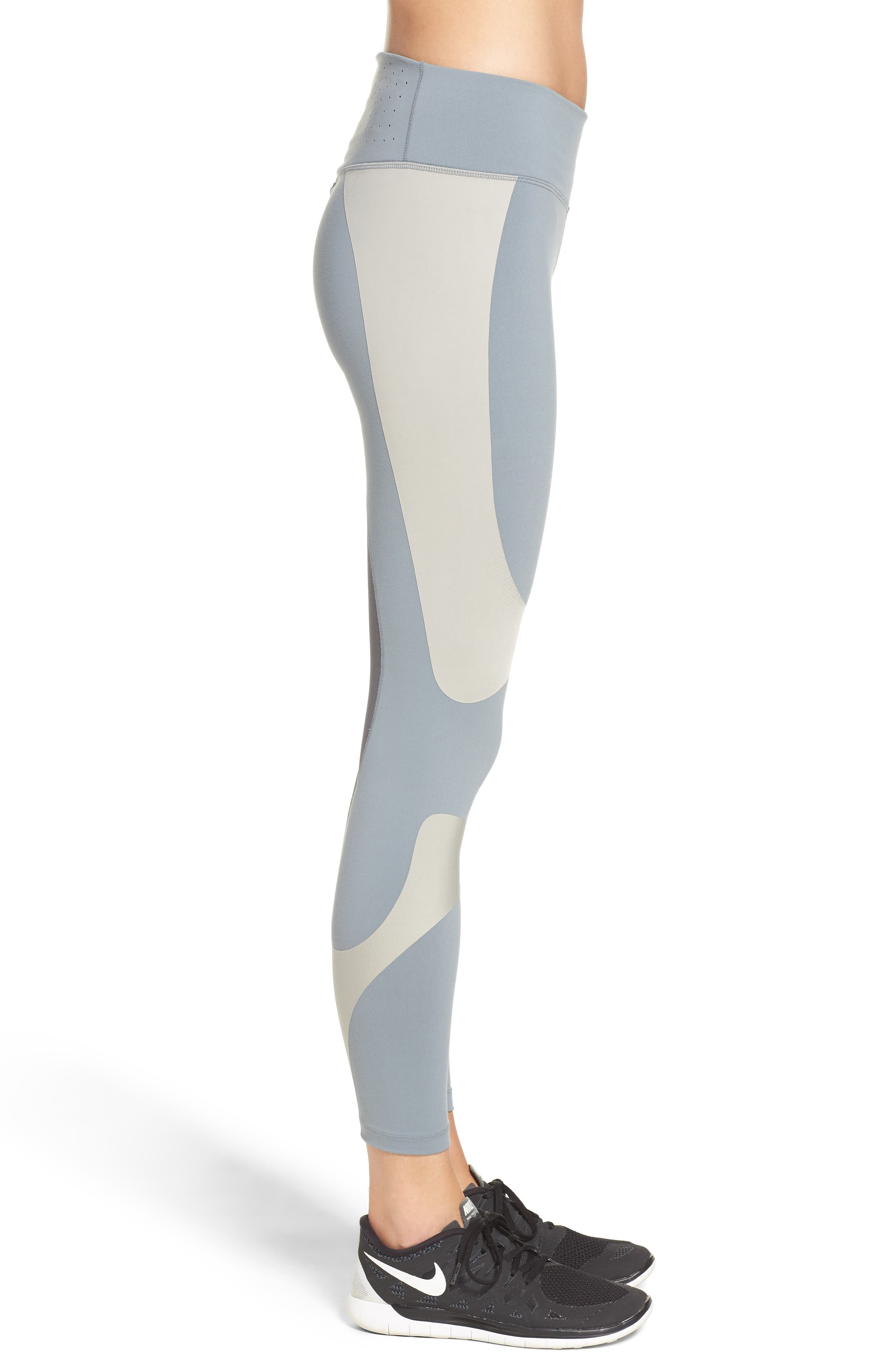 Power Legend Training Tights,                             Alternate thumbnail 3, color,                             Grey/ Cobblestone/ Grey/ Black
