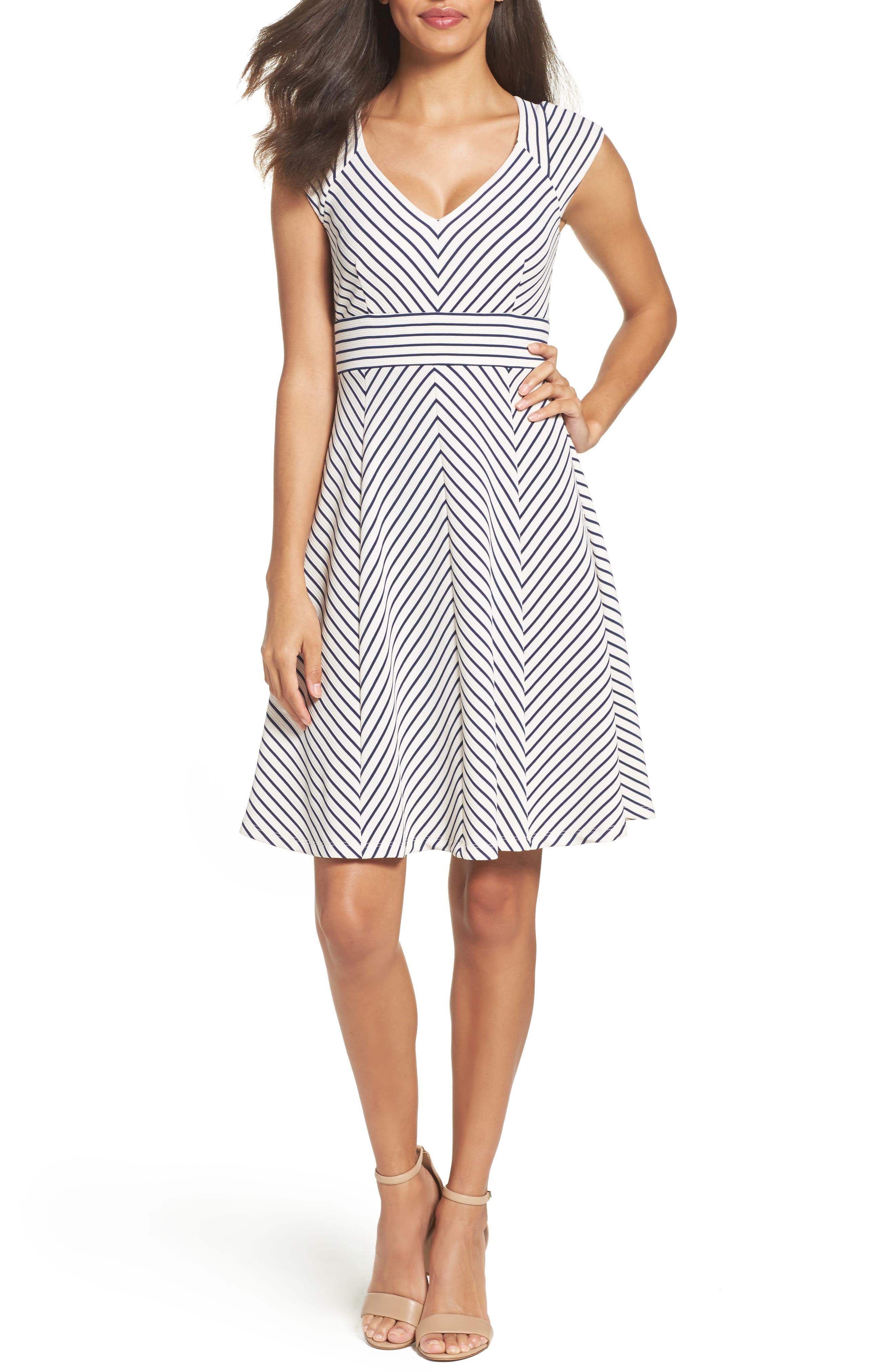 Stripe Fit & Flare Dress,                             Main thumbnail 1, color,                             White/ Blue Moon
