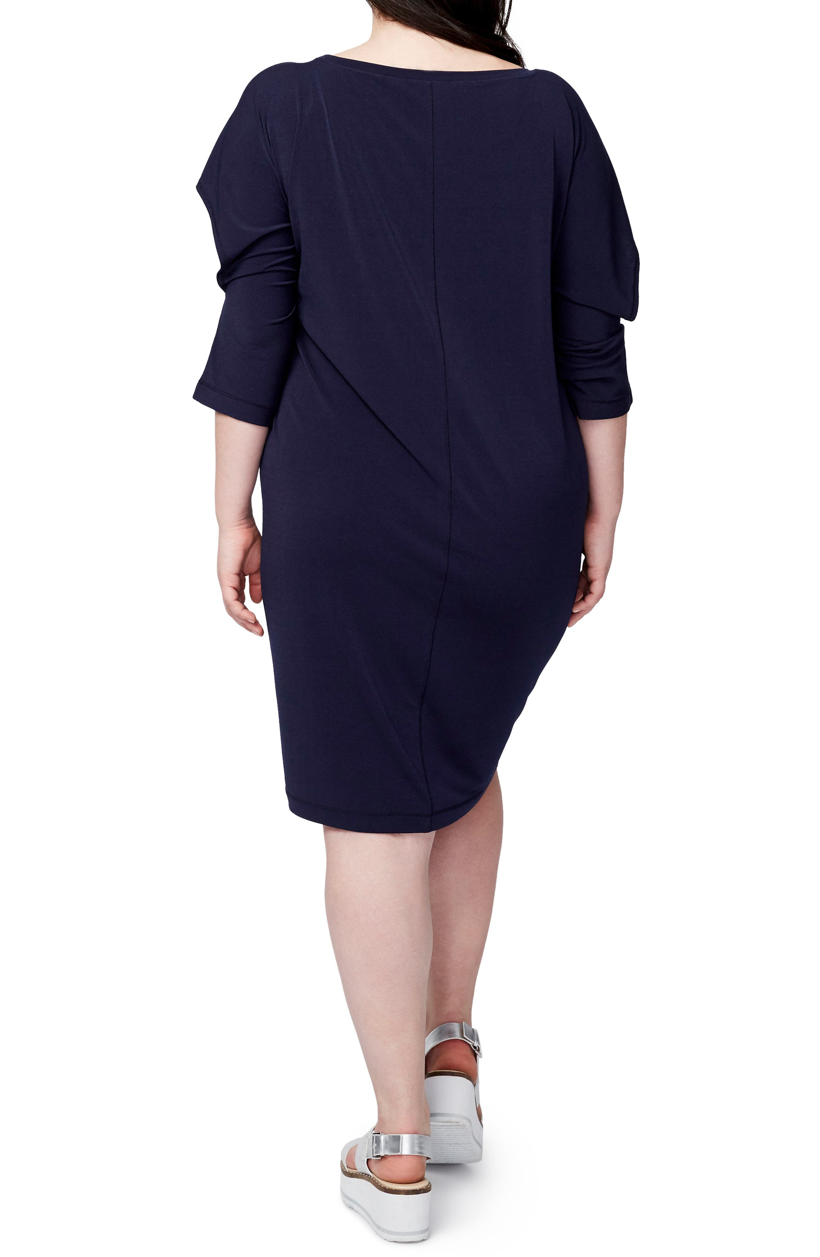 Ruffled Open Sleeve Dress,                             Alternate thumbnail 2, color,                             Navy