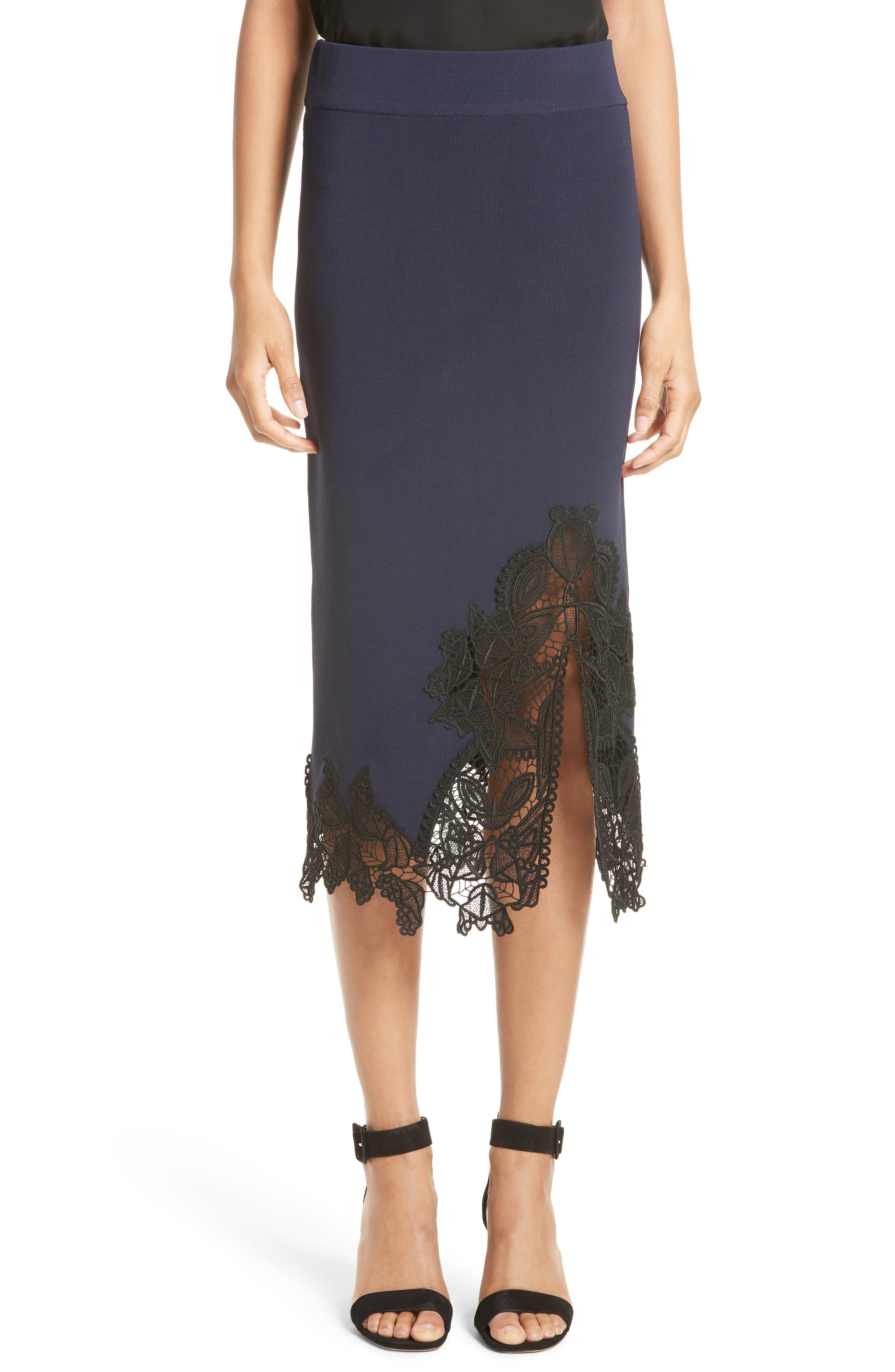 JONATHAN SIMKHAI Lace Appliqué Knit Pencil Skirt