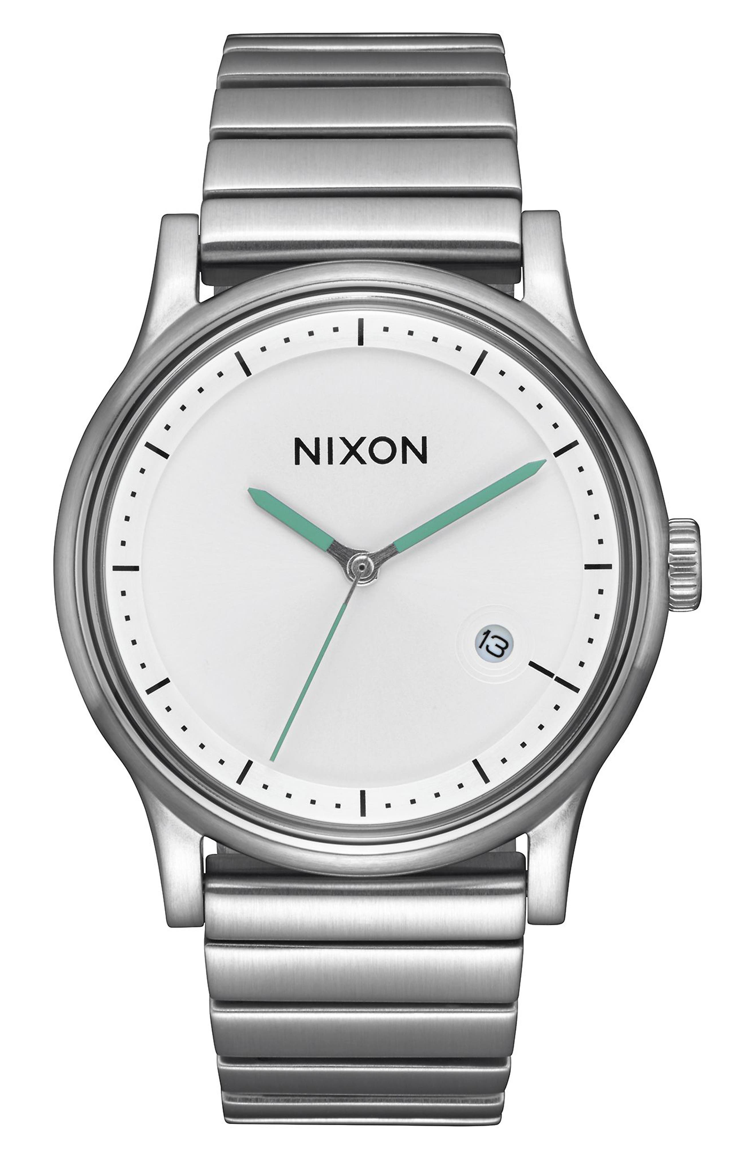 Station Bracelet Watch, 41mm,                         Main,                         color, Silver/ White/ Silver