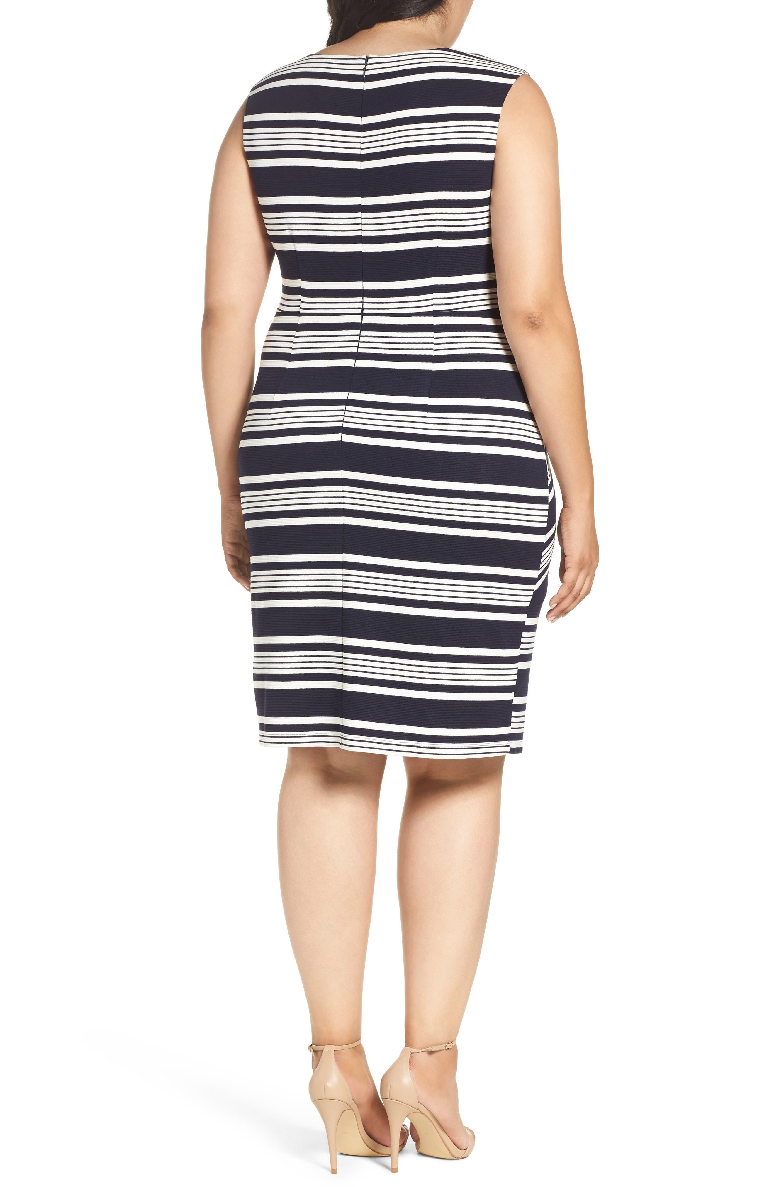Alternate Image 3  - Adrianna Papell Stripe Body-Con Dress (Plus Size)