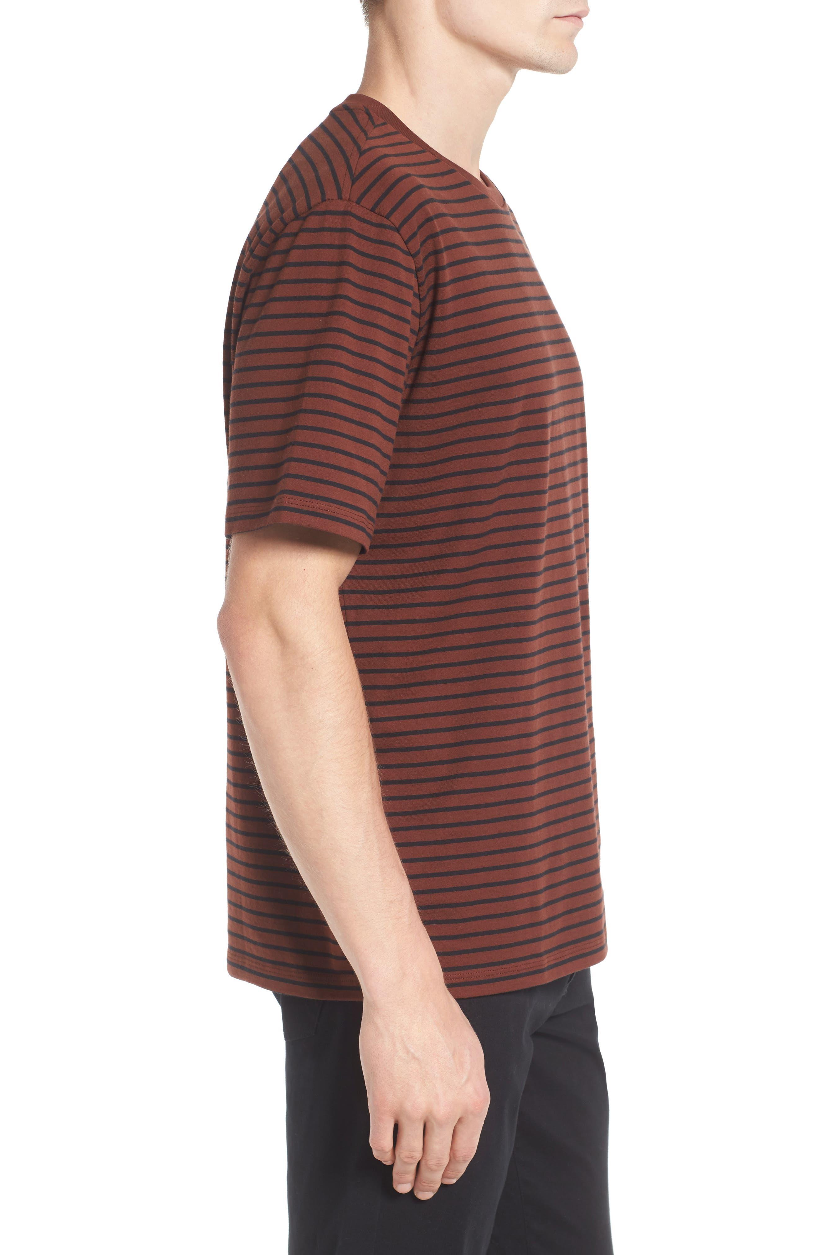 Narrow Stripe Pima Cotton T-Shirt,                             Alternate thumbnail 3, color,                             Sienna/ Black