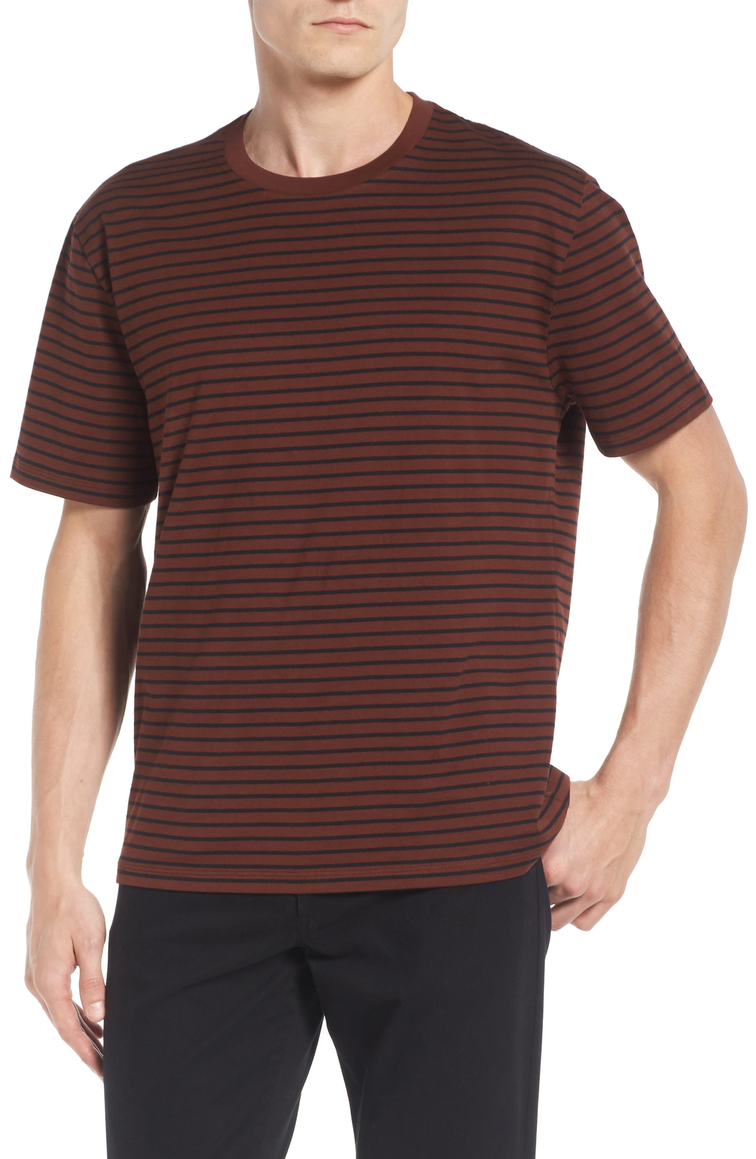 Narrow Stripe Pima Cotton T-Shirt,                             Main thumbnail 1, color,                             Sienna/ Black