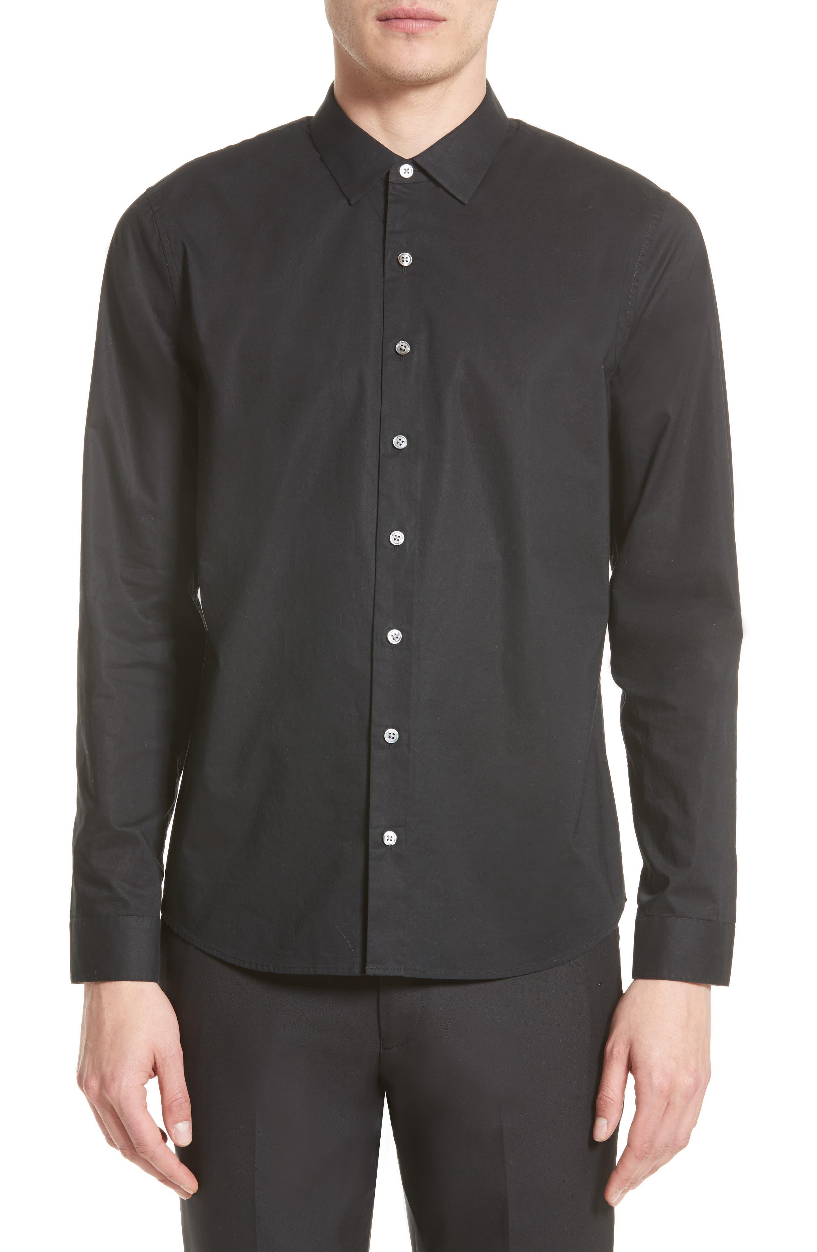 Cotton Dress Shirt,                         Main,                         color, Black