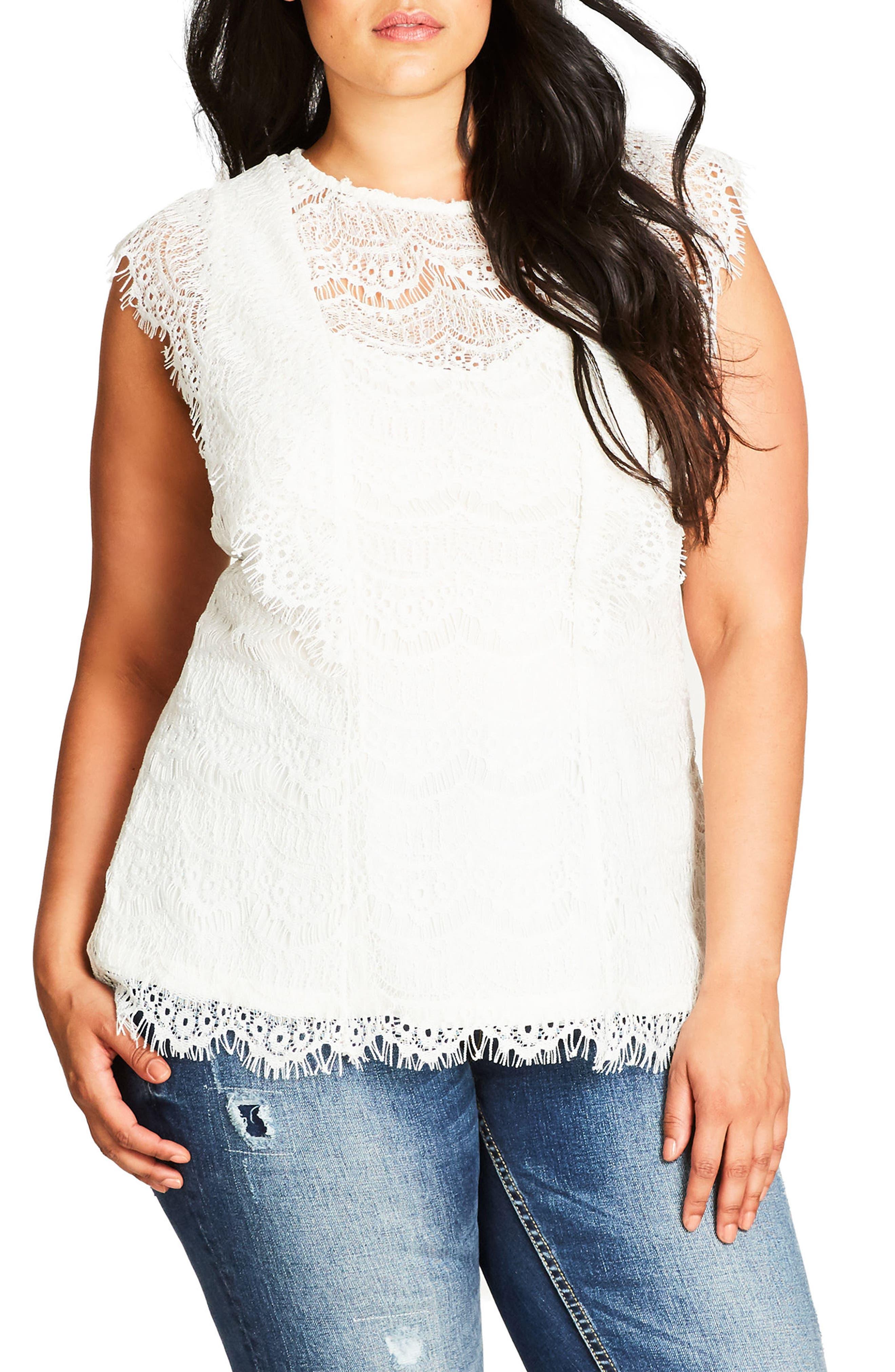 Main Image - City Chic Cotton Blend Lace Top (Plus Size)