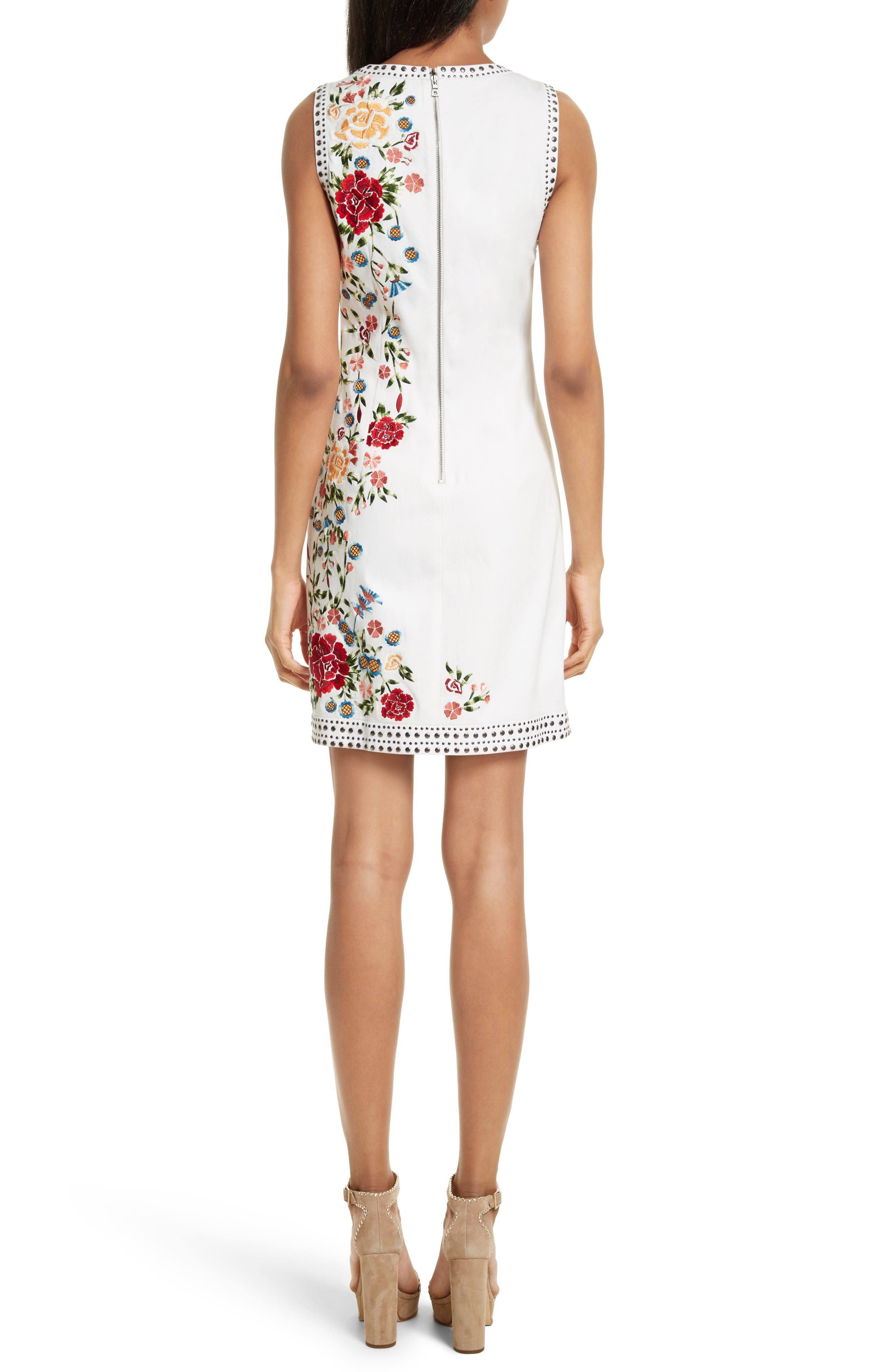 Nat Embroidered Minidress,                             Alternate thumbnail 2, color,                             Cream Multi