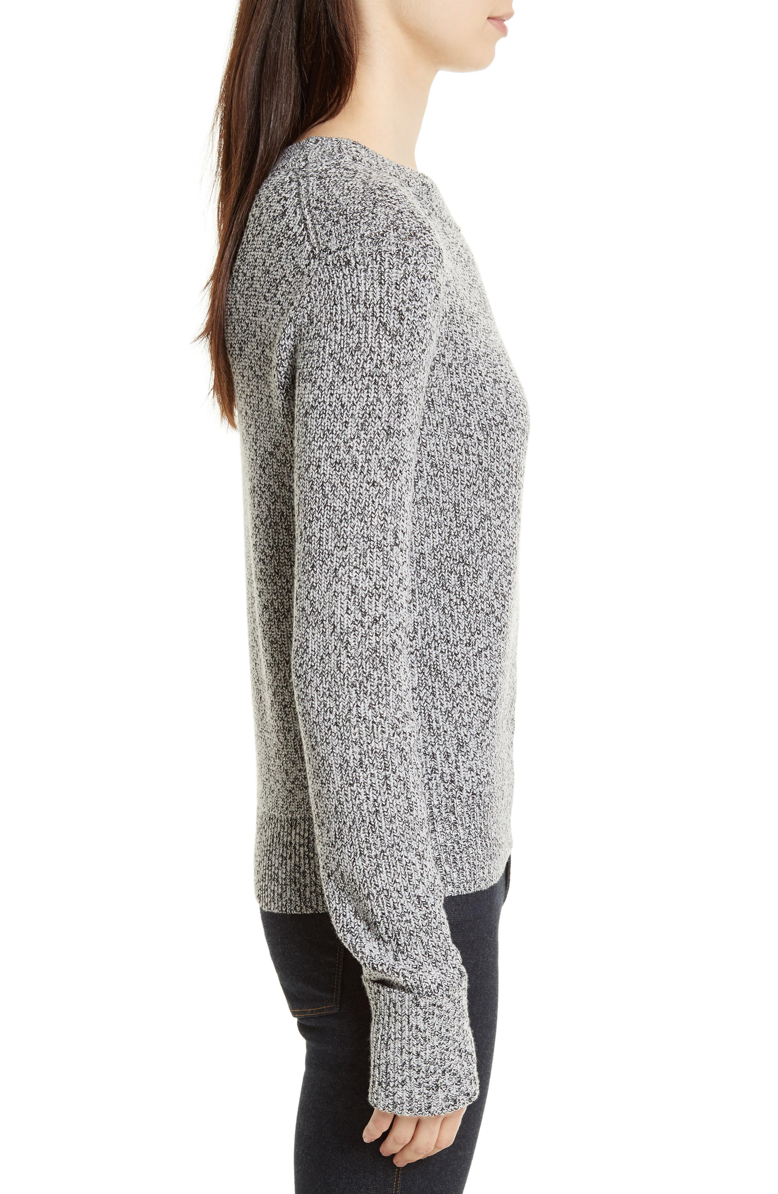 Rib Cuff Marled Sweater,                             Alternate thumbnail 3, color,                             Black/ Ivory