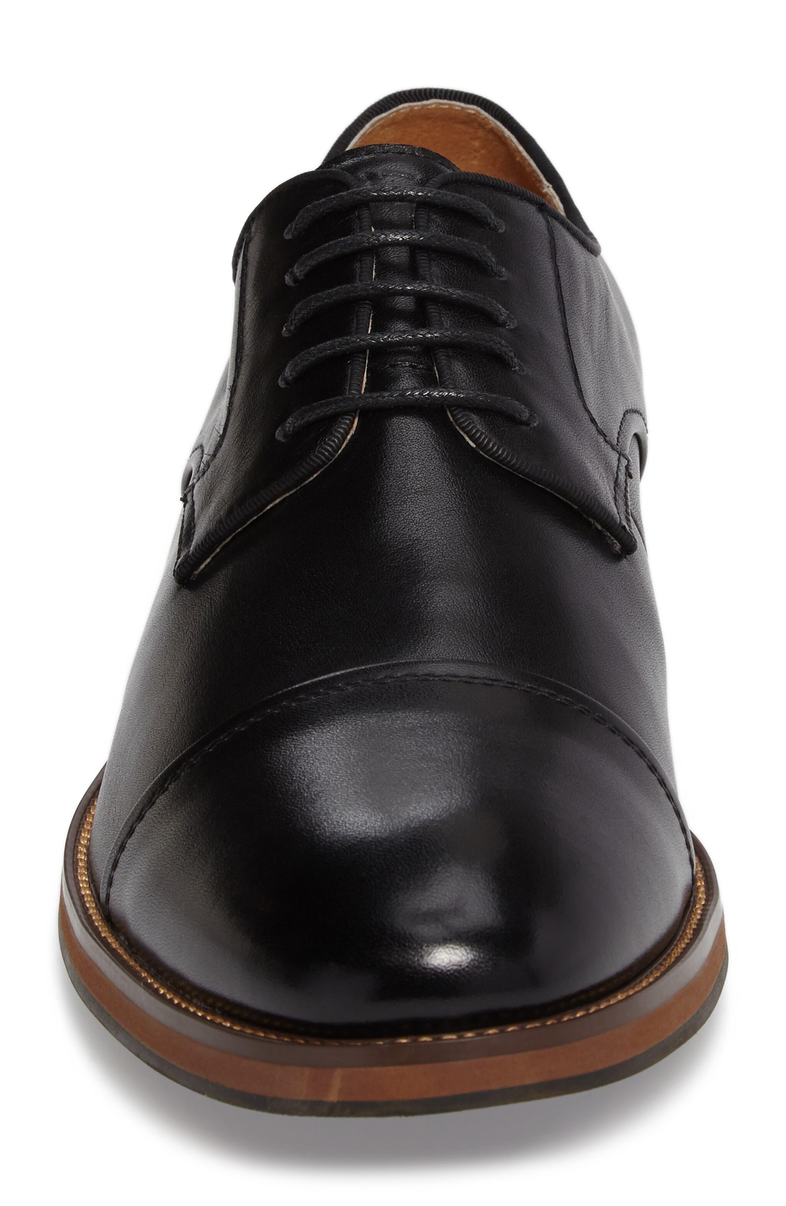 Blaze Cap Toe Derby,                             Alternate thumbnail 4, color,                             Black Leather