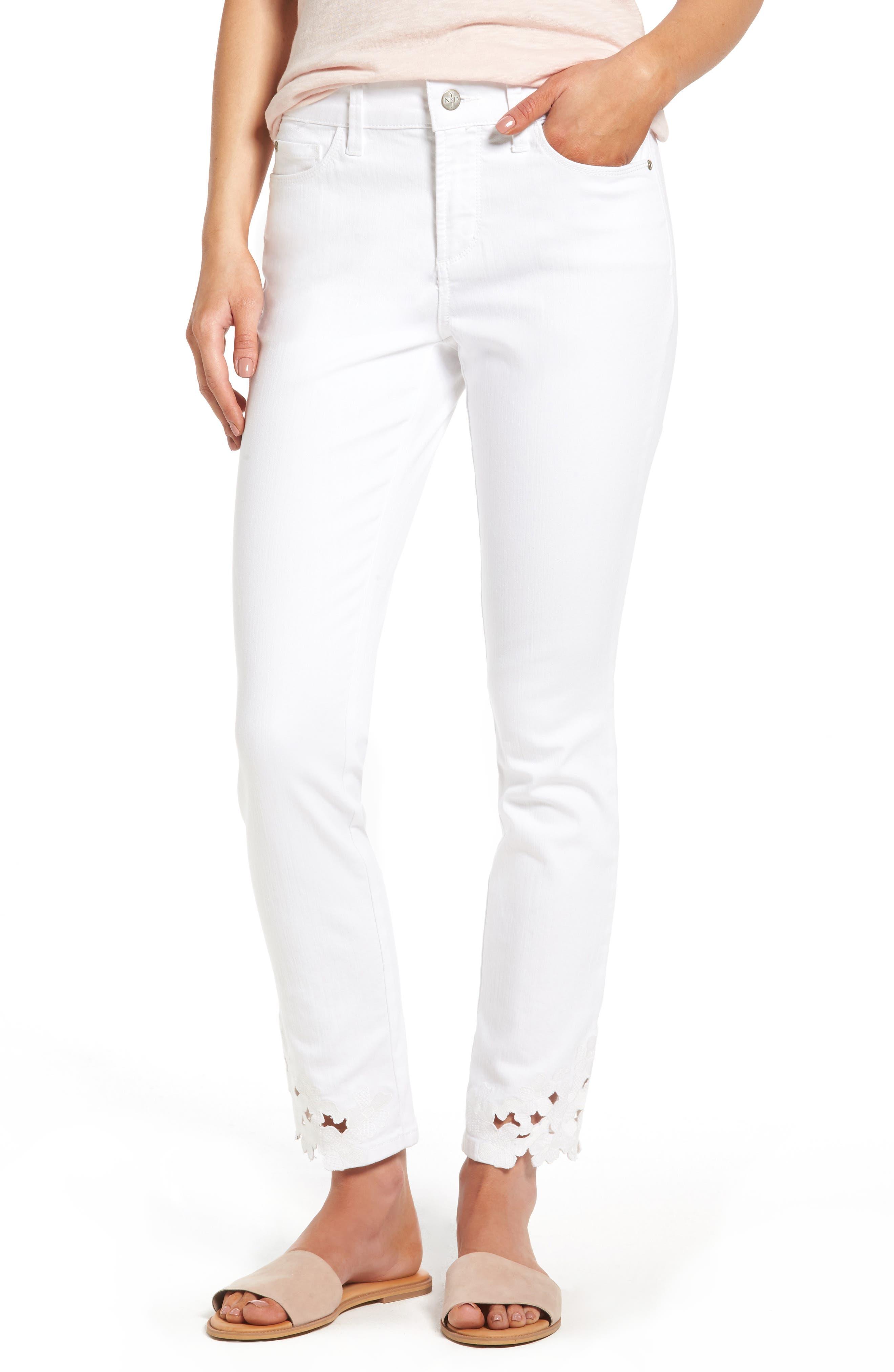 Alina Eyelet Hem Stretch Skinny Jeans,                             Main thumbnail 1, color,                             Optic White
