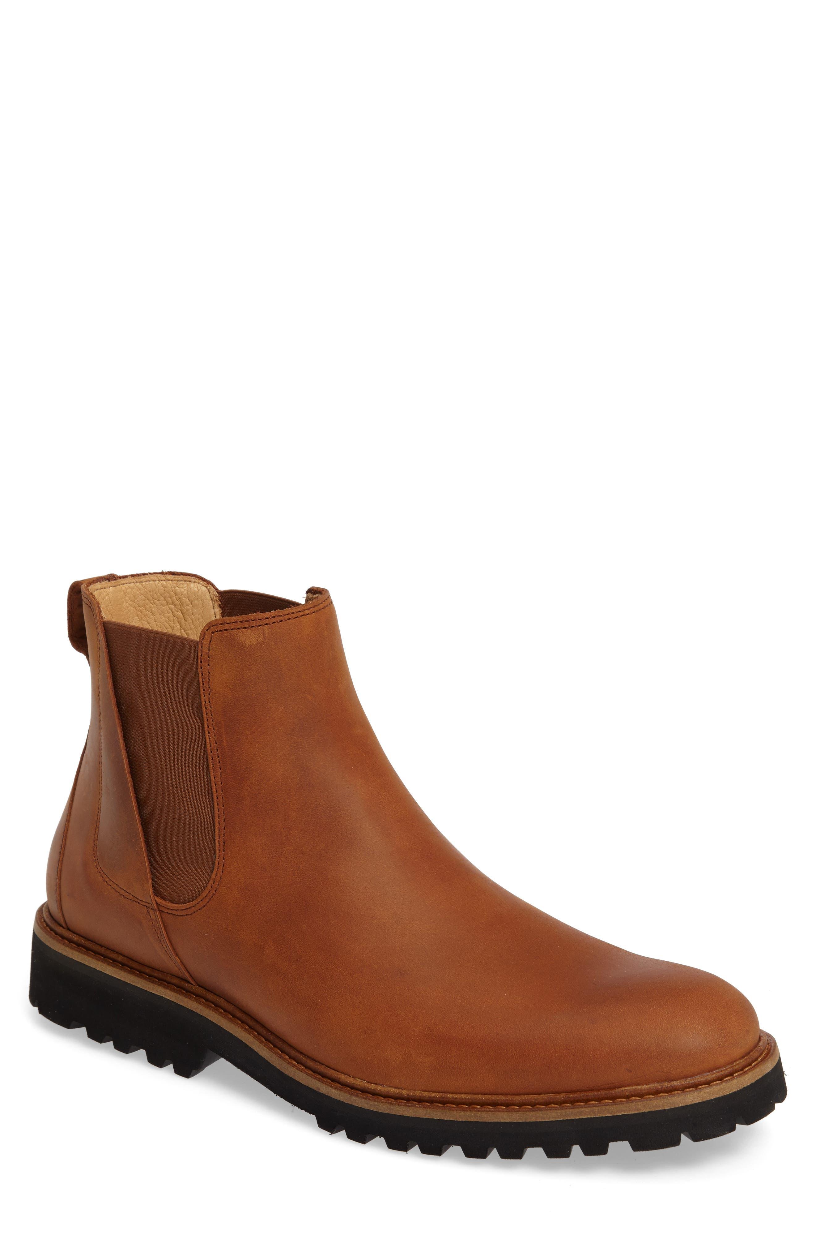 Crosstown Cowboy Chelsea Boot,                         Main,                         color, Tan Waxhide/ Black