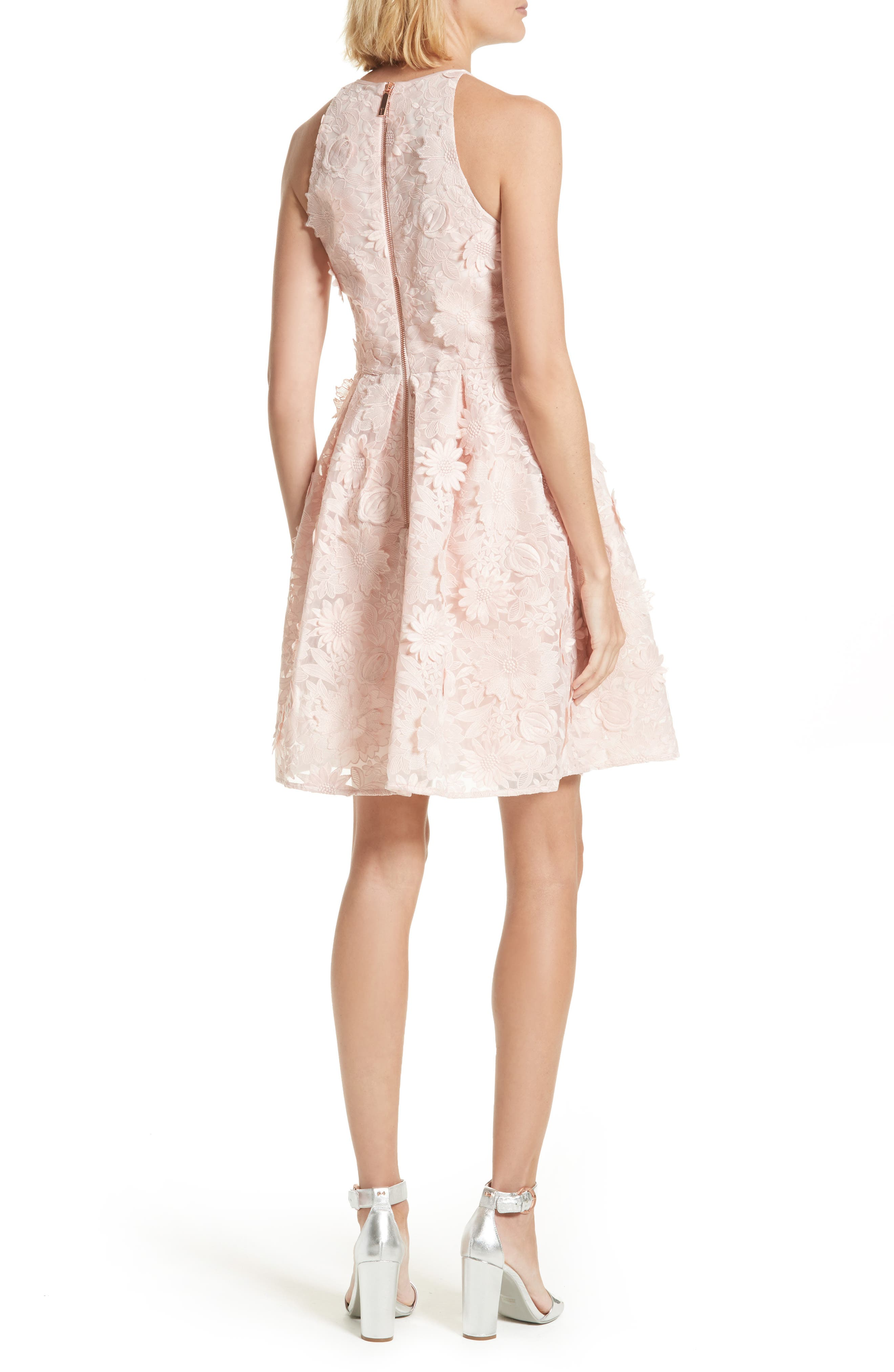 Sweetee Lace Skater Dress,                             Alternate thumbnail 2, color,                             Baby Pink