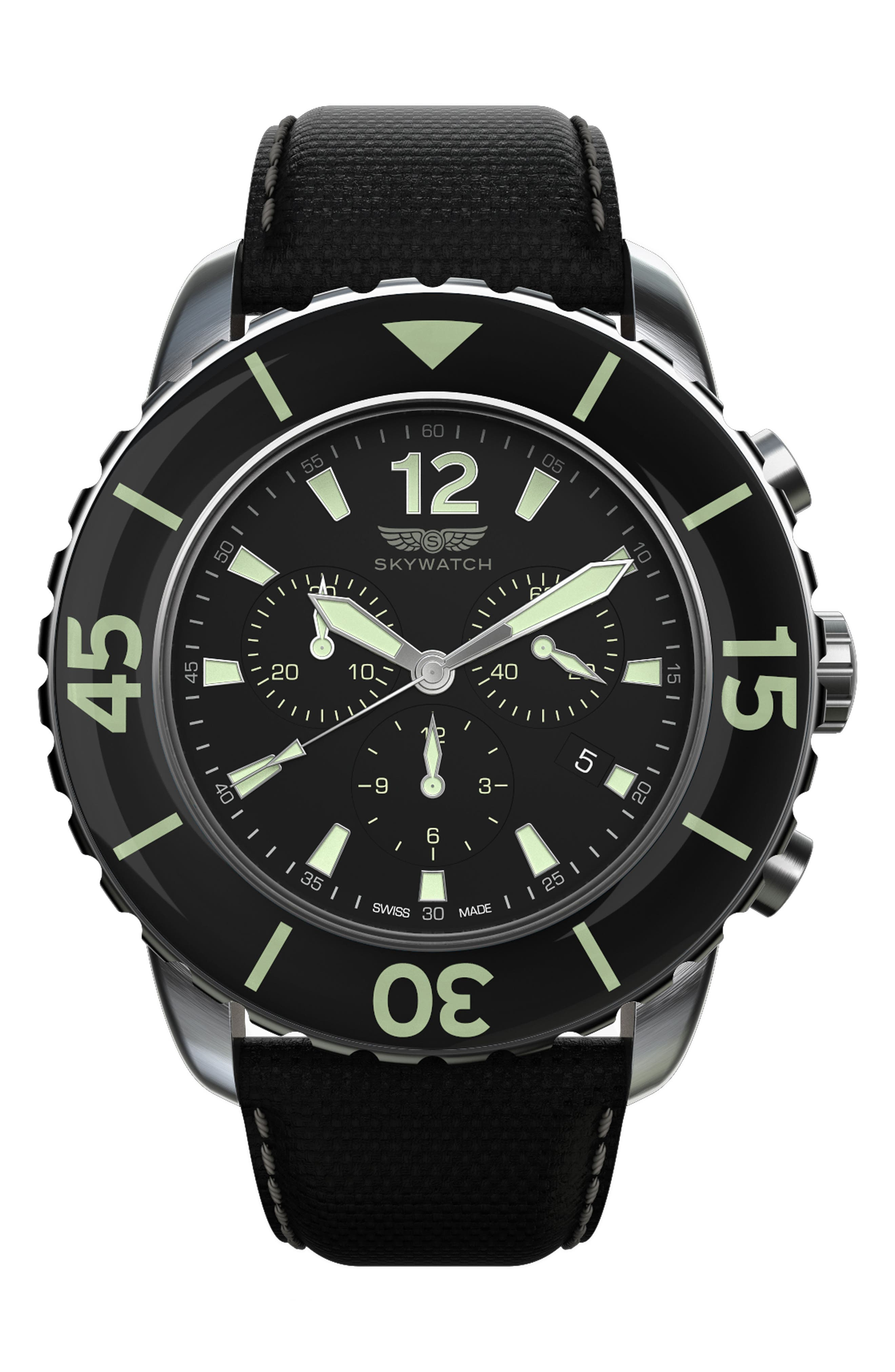 Alternate Image 1 Selected - SKYWATCH Classic Chronograph Woven Strap Watch, 46mm