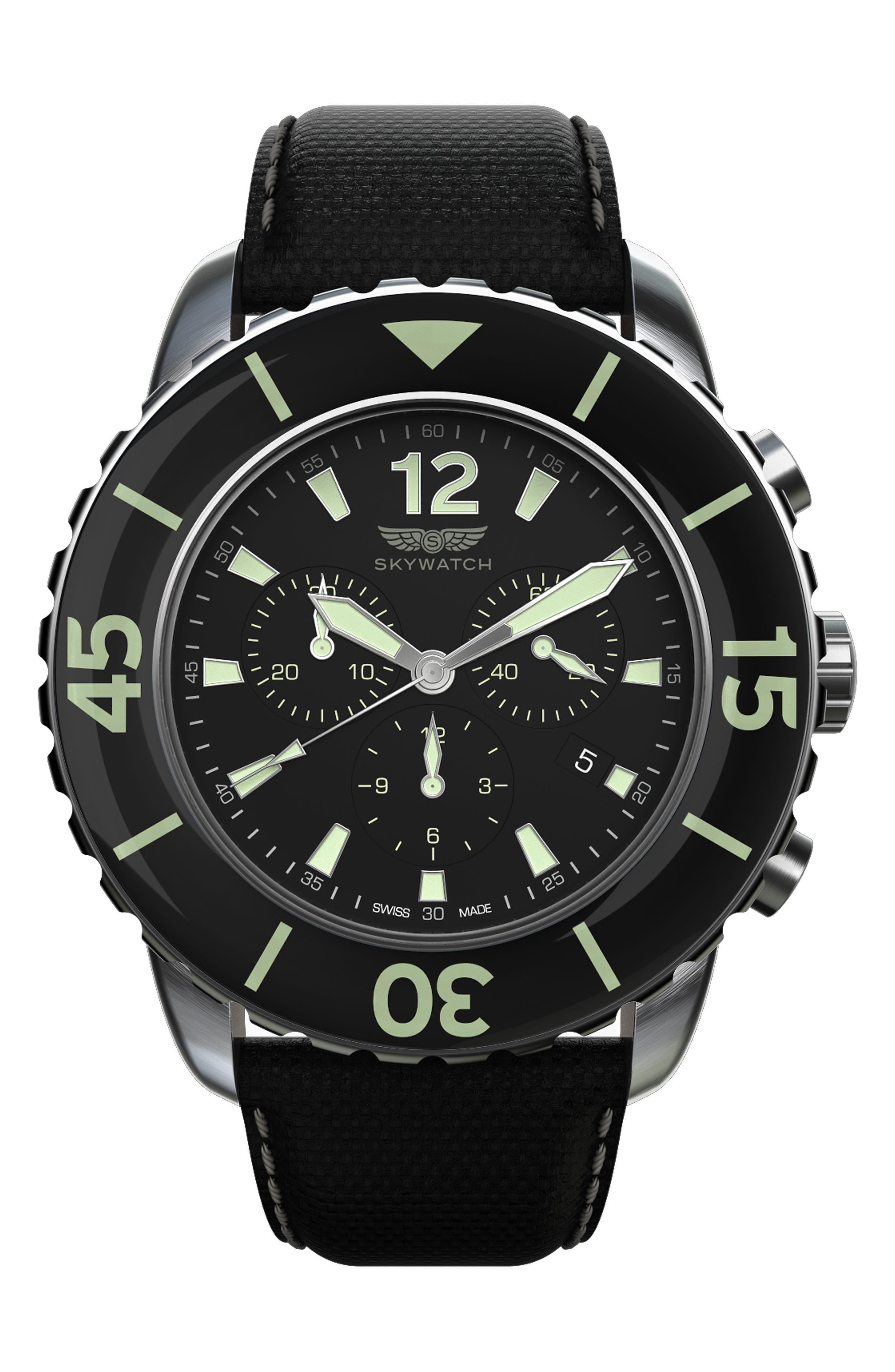 Classic Chronograph Woven Strap Watch, 46mm,                         Main,                         color, Black/ Black