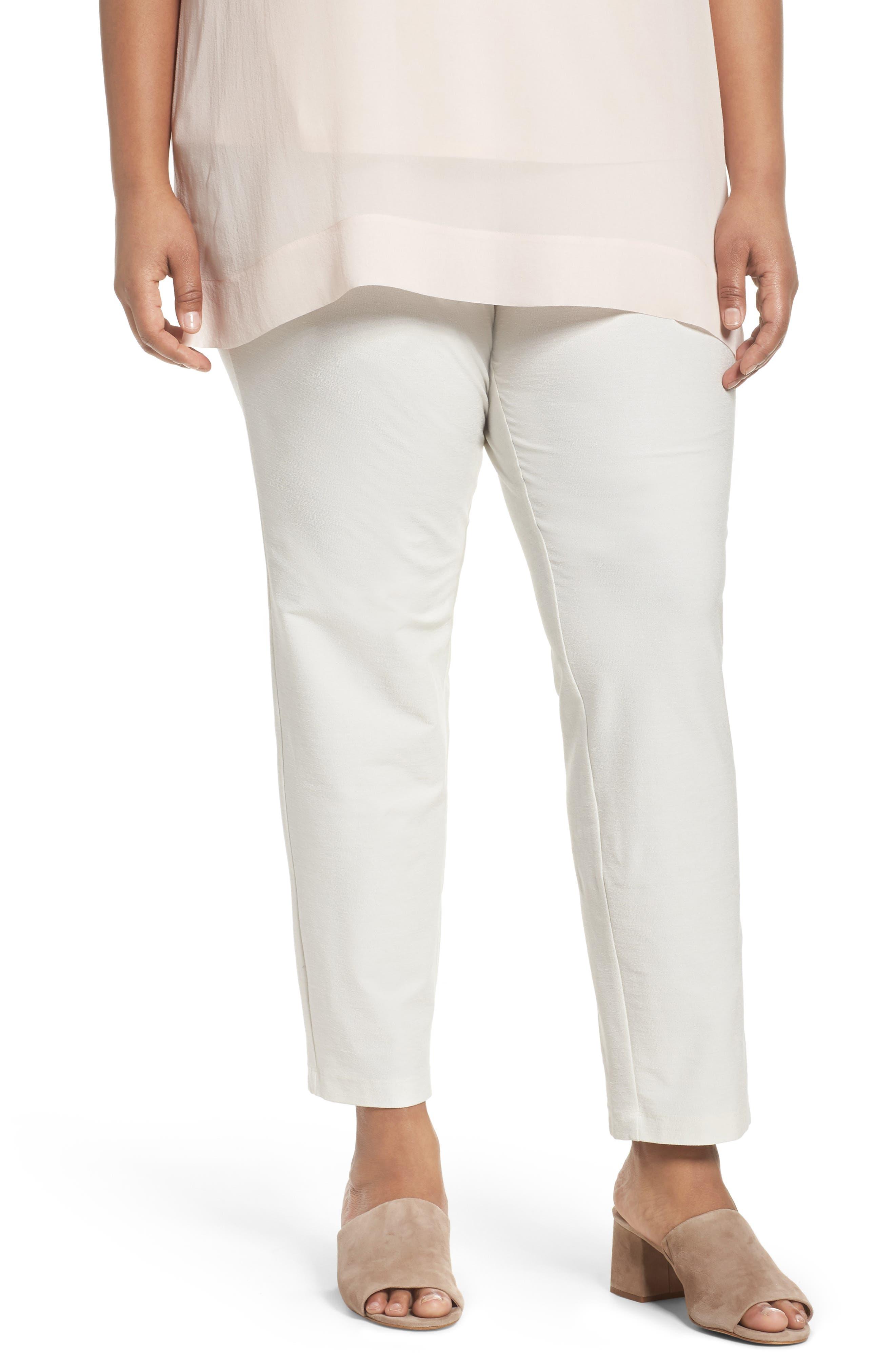Crepe Ankle Pants,                         Main,                         color, Bone