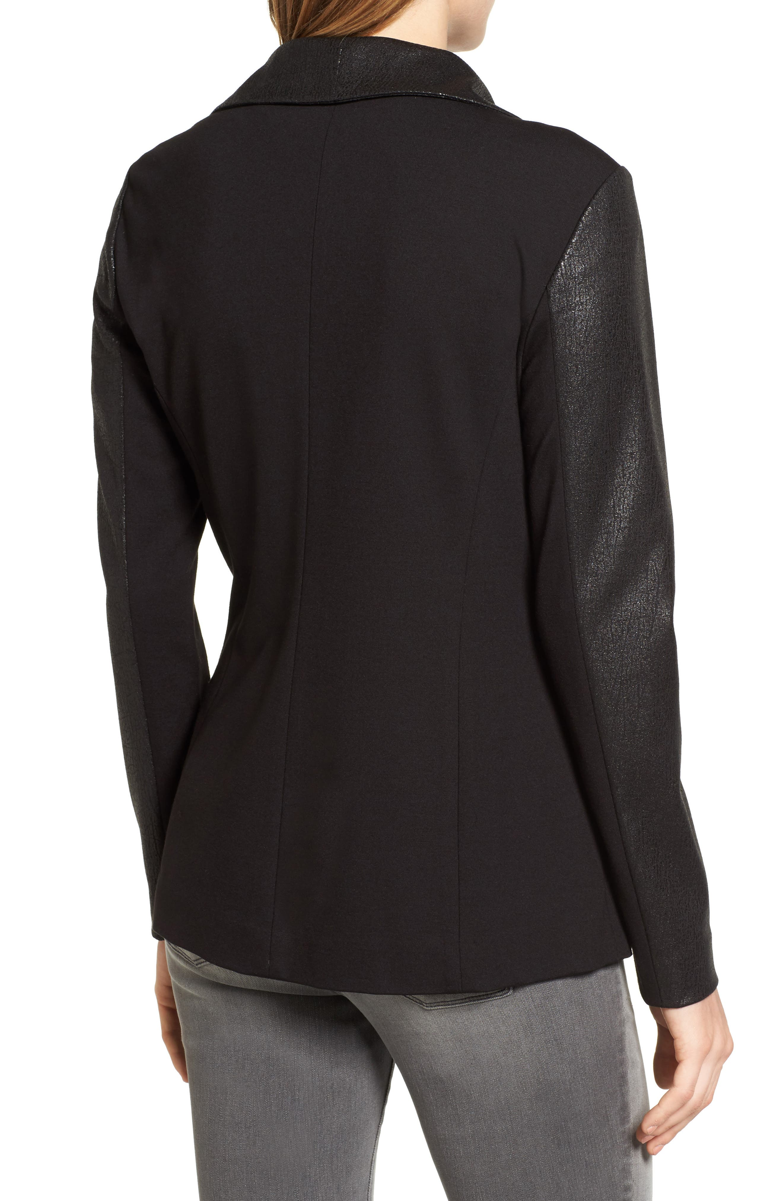 Alternate Image 2  - Two by Vince Camuto Coated Ponte Knit Moto Jacket