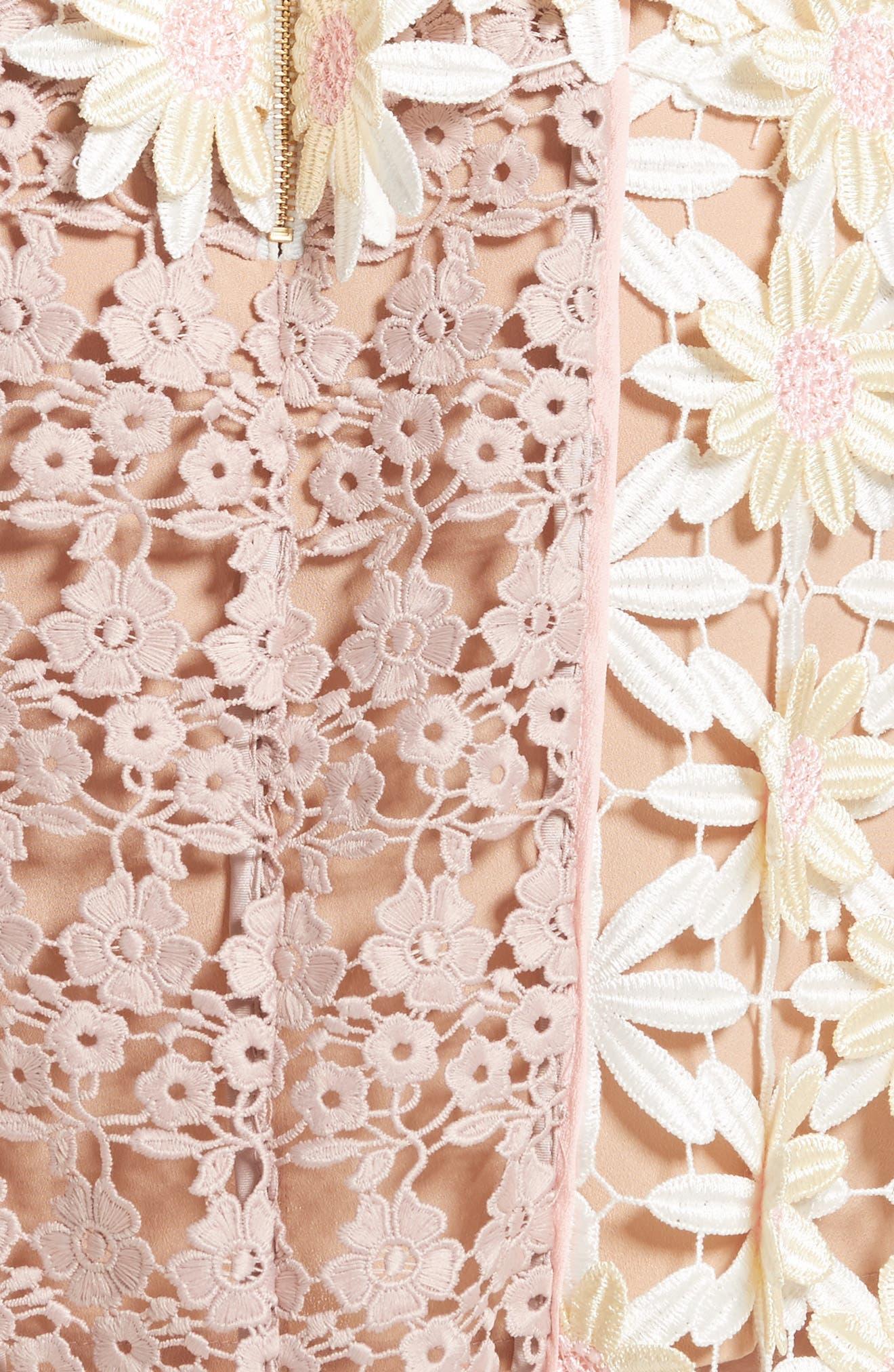 3D Floral Lace Peplum Dress,                             Alternate thumbnail 5, color,                             Multi