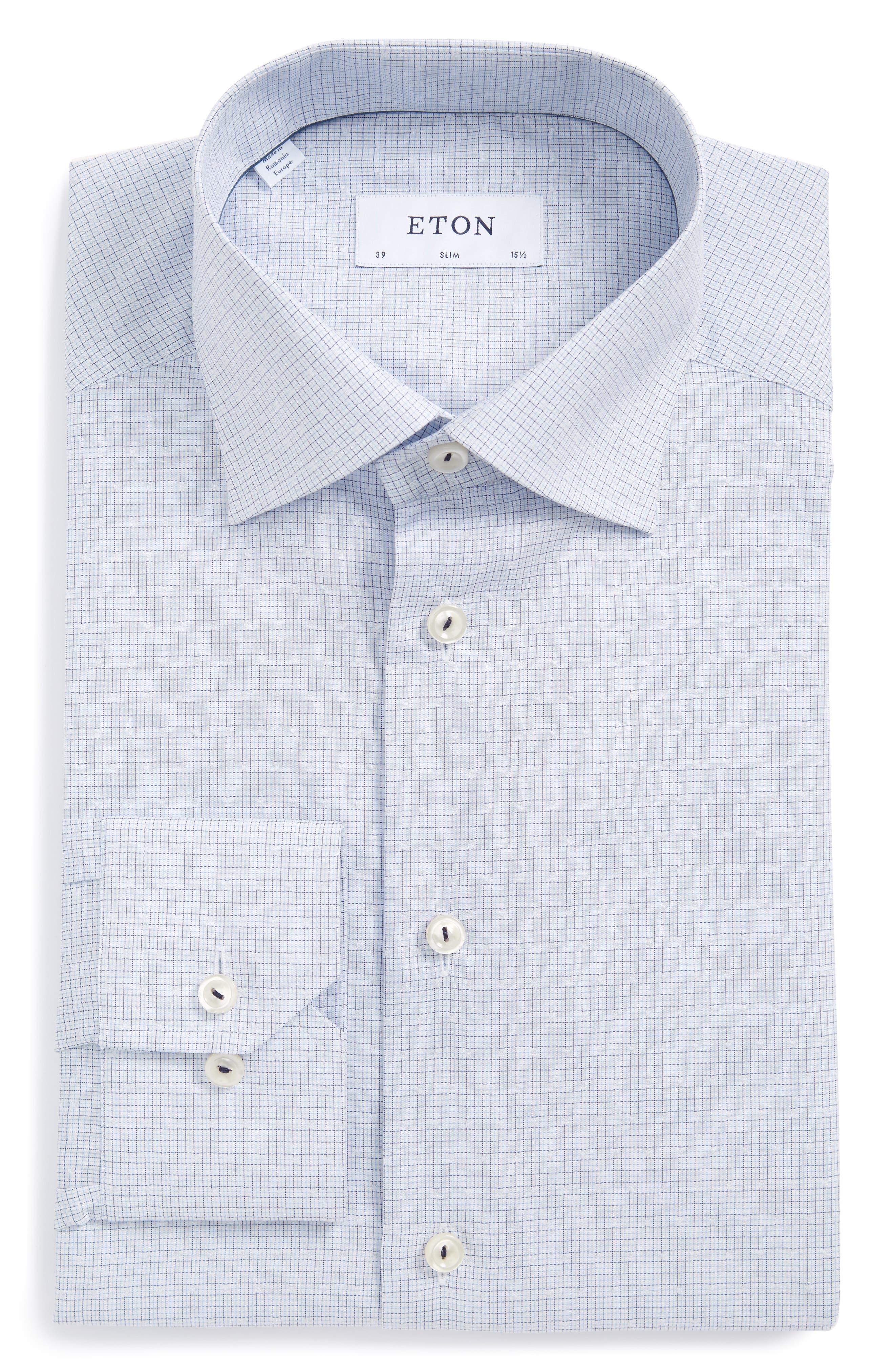 Slim Fit Microcheck Dress Shirt,                         Main,                         color, Blue Check