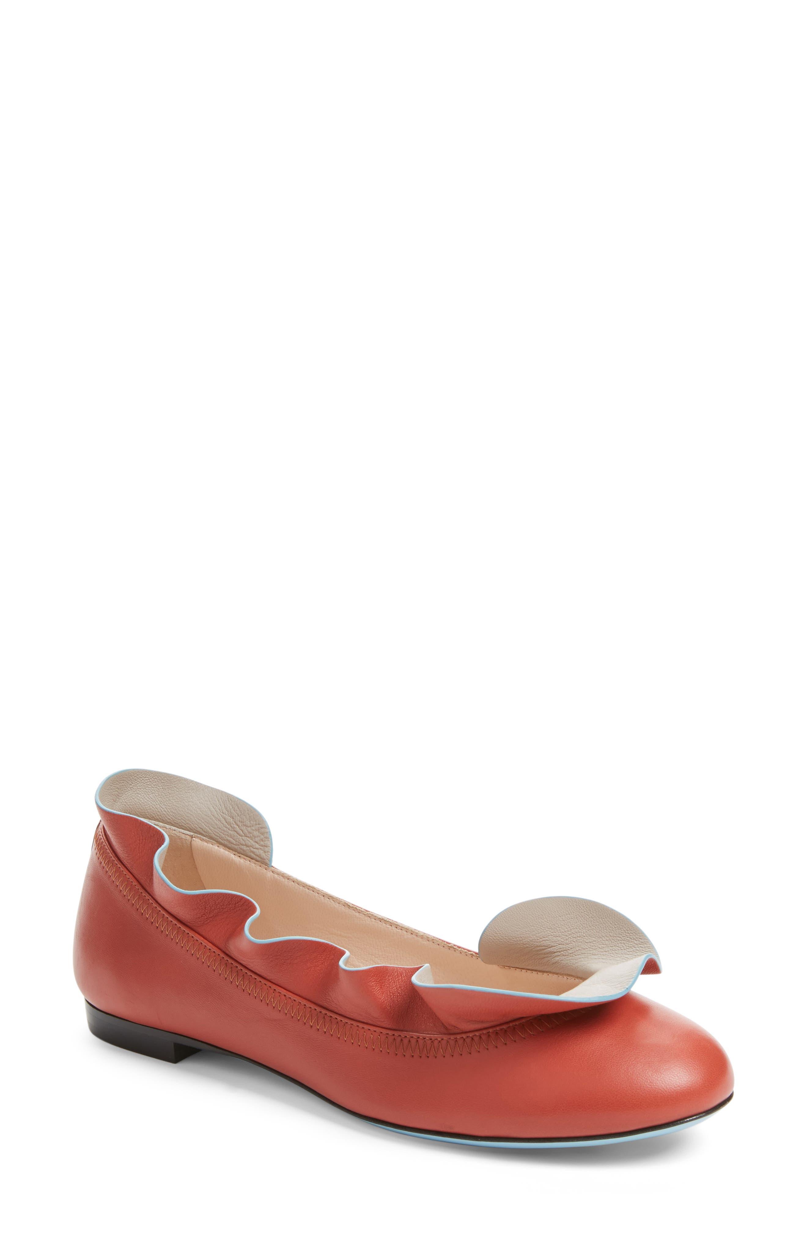 Fendi Ruffle Ballerina Flat (Women)