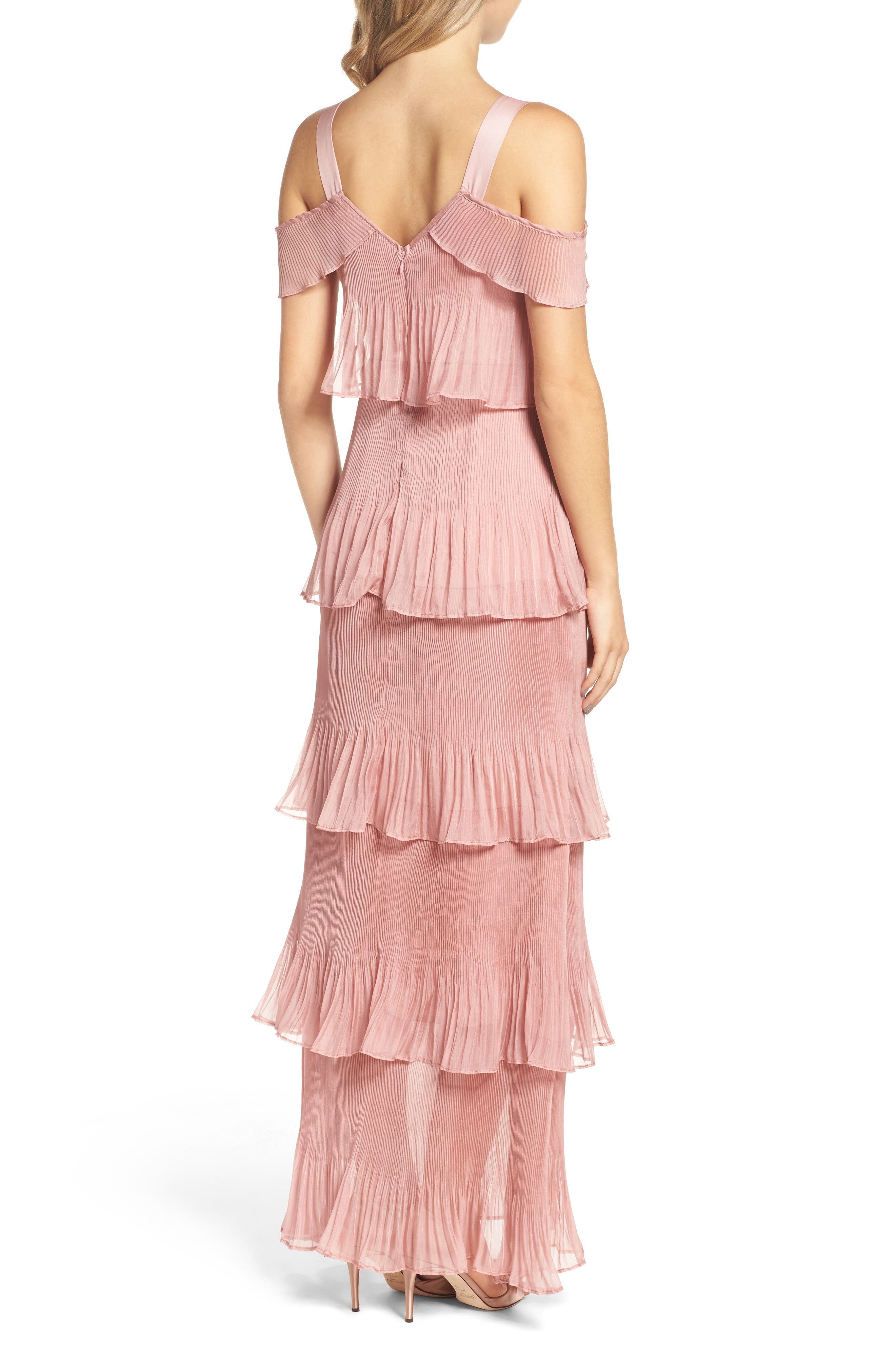 Cold Shoulder Ruffle Gown,                             Alternate thumbnail 2, color,                             Dusty Pink