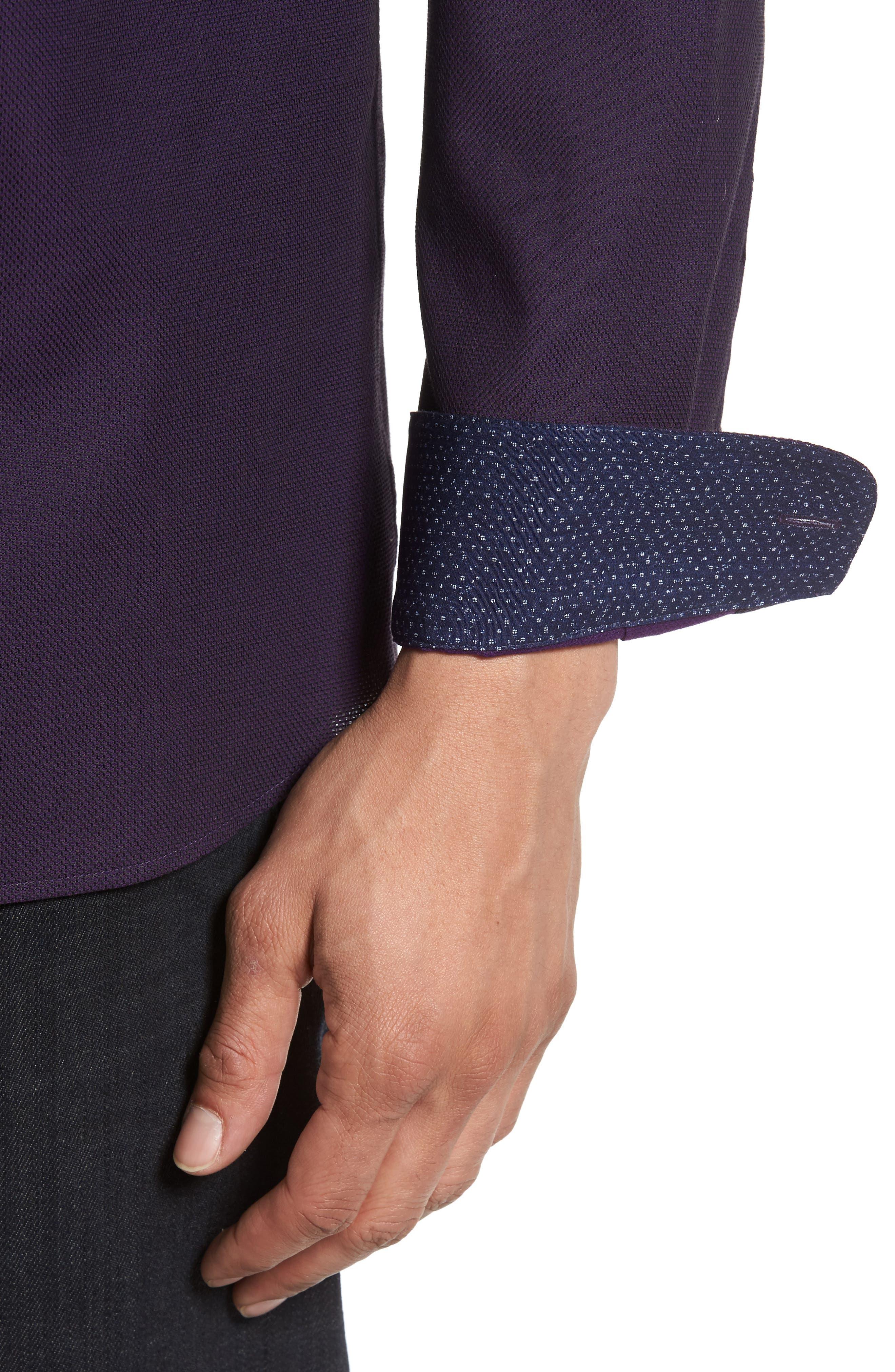 Nordlux Modern Slim Fit Stretch Cotton Sport Shirt,                             Alternate thumbnail 4, color,                             Deep Purple