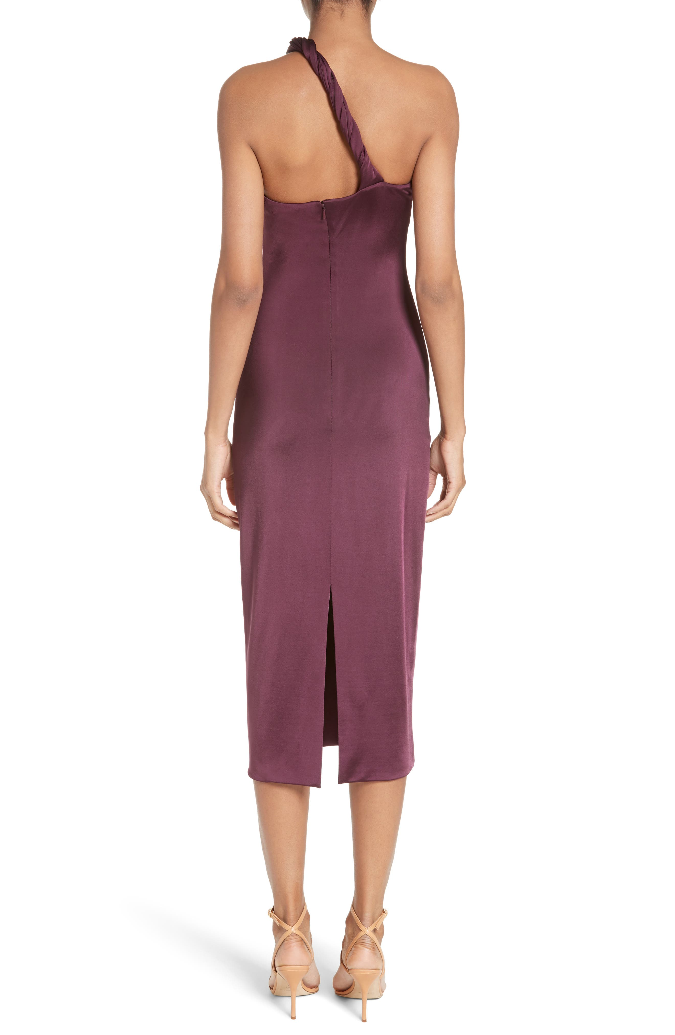 Twisted Jersey One-Shoulder Dress,                             Alternate thumbnail 2, color,                             Currant