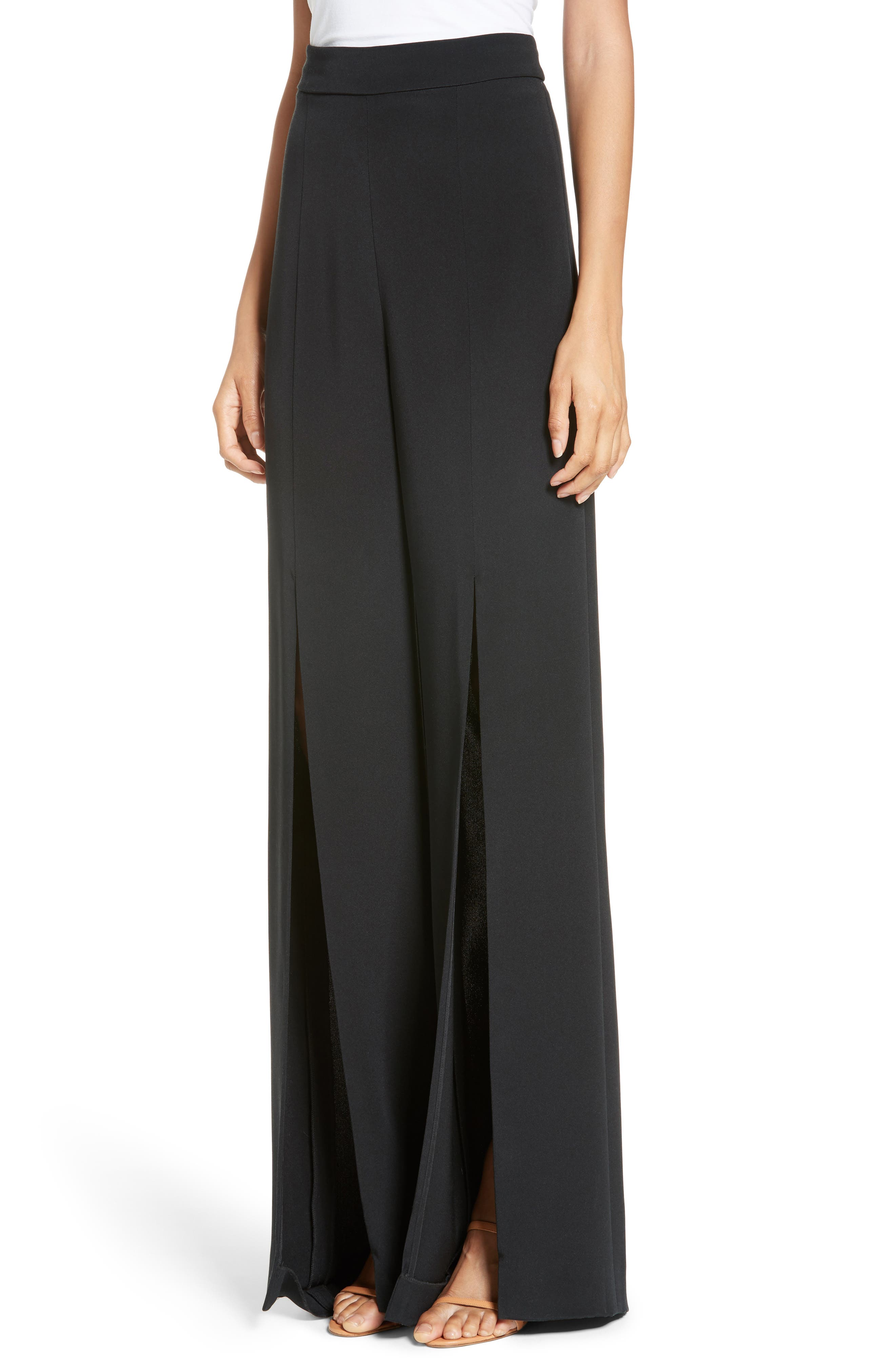 Slit Silk High Waisted Pants,                             Alternate thumbnail 5, color,                             Black