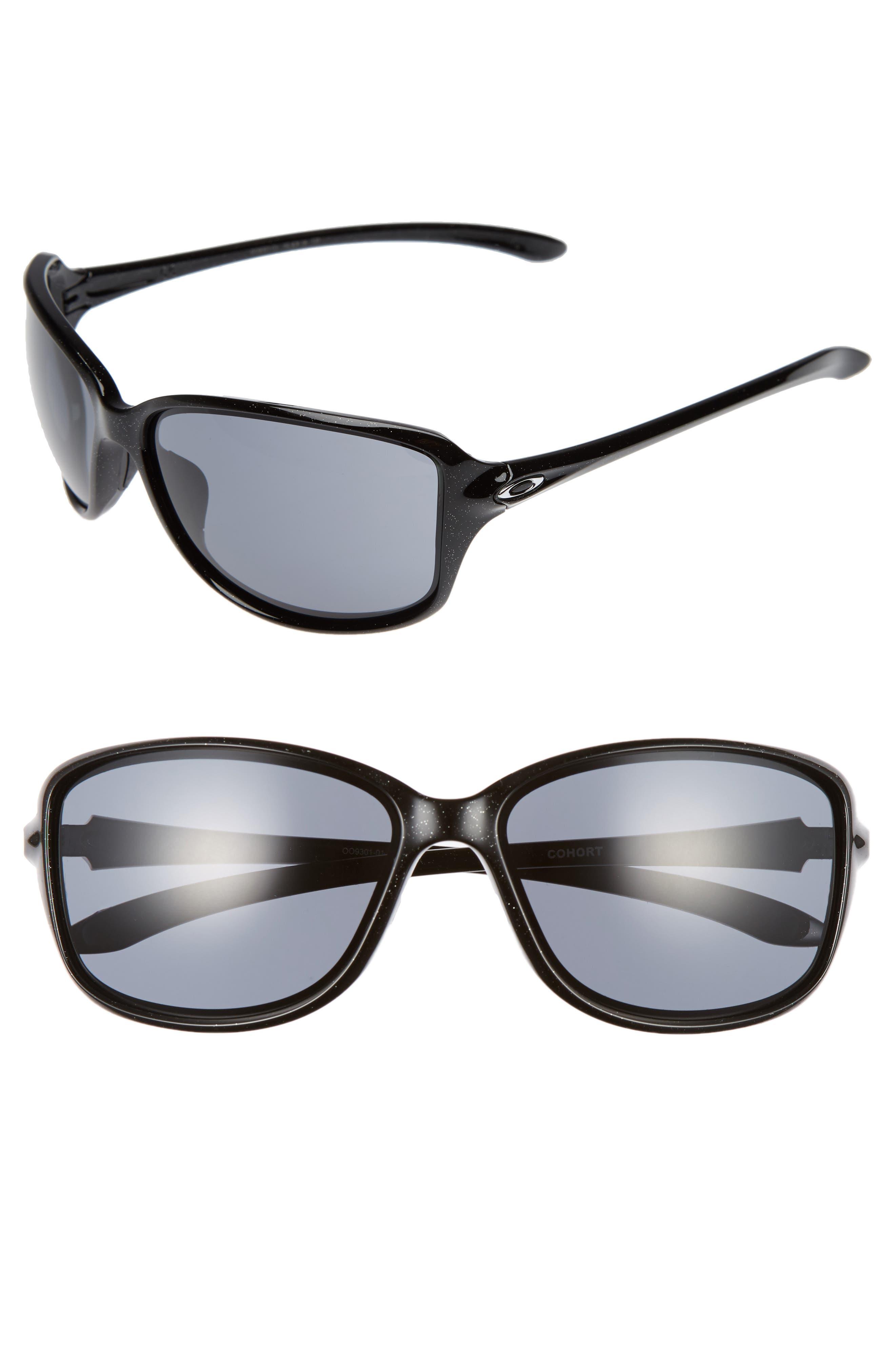 Cohort 62mm Sunglasses,                             Main thumbnail 1, color,                             Metallic Black/ Grey