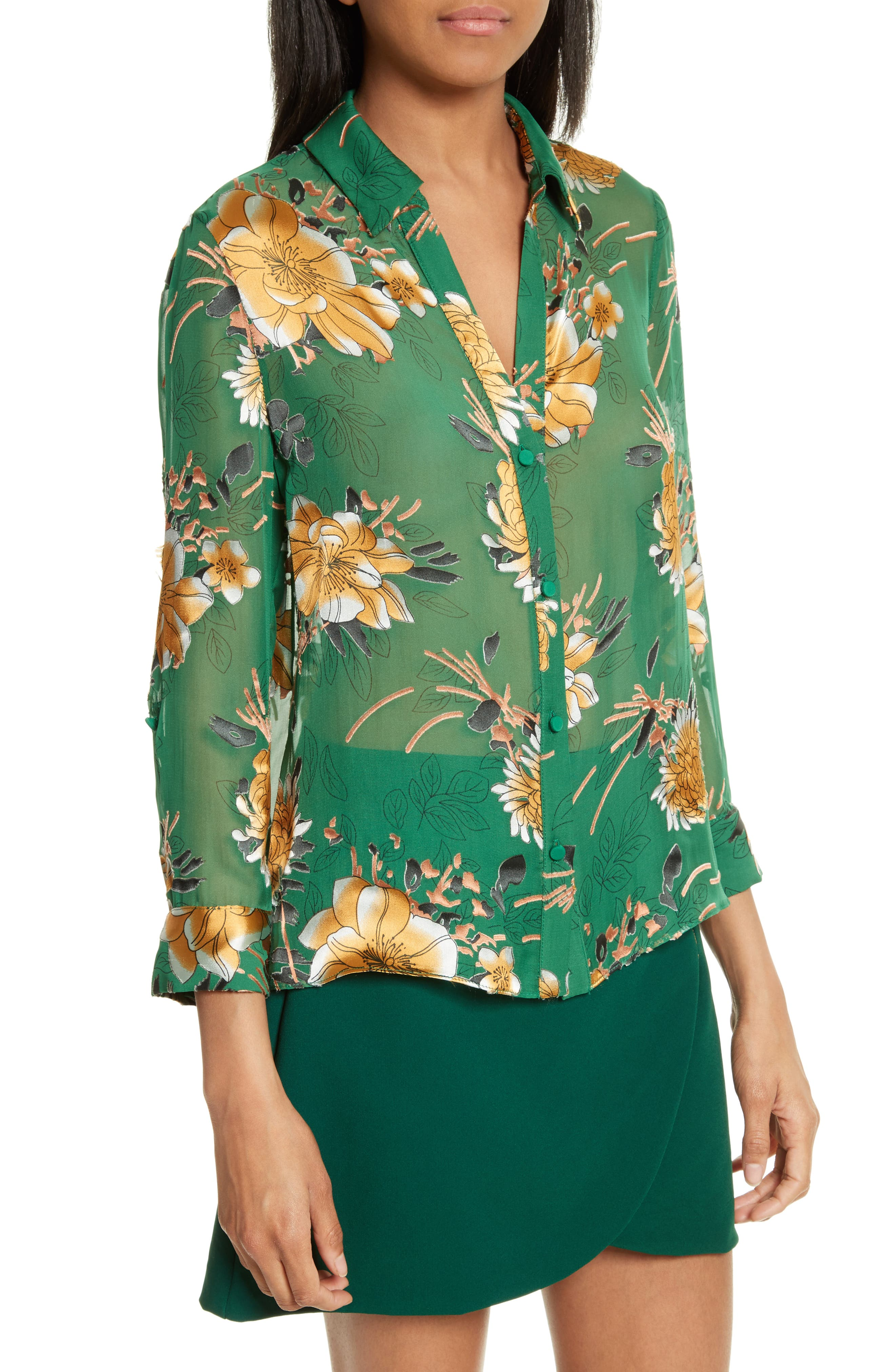 Eloise Roll Sleeve Floral Blouse,                             Alternate thumbnail 4, color,                             Ivy Multi