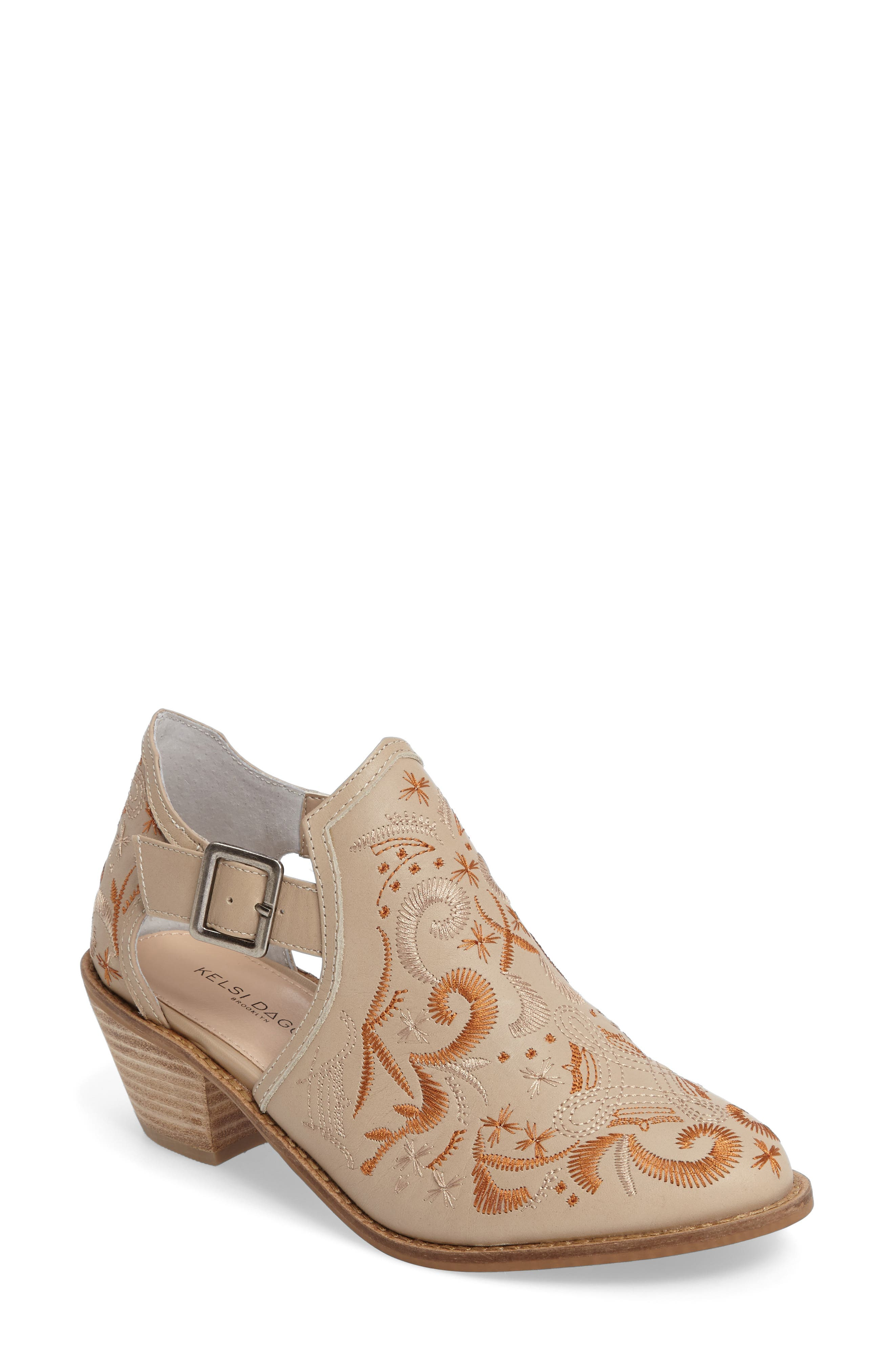 Kline Embroidered Bootie,                             Main thumbnail 1, color,                             Wheat Leather