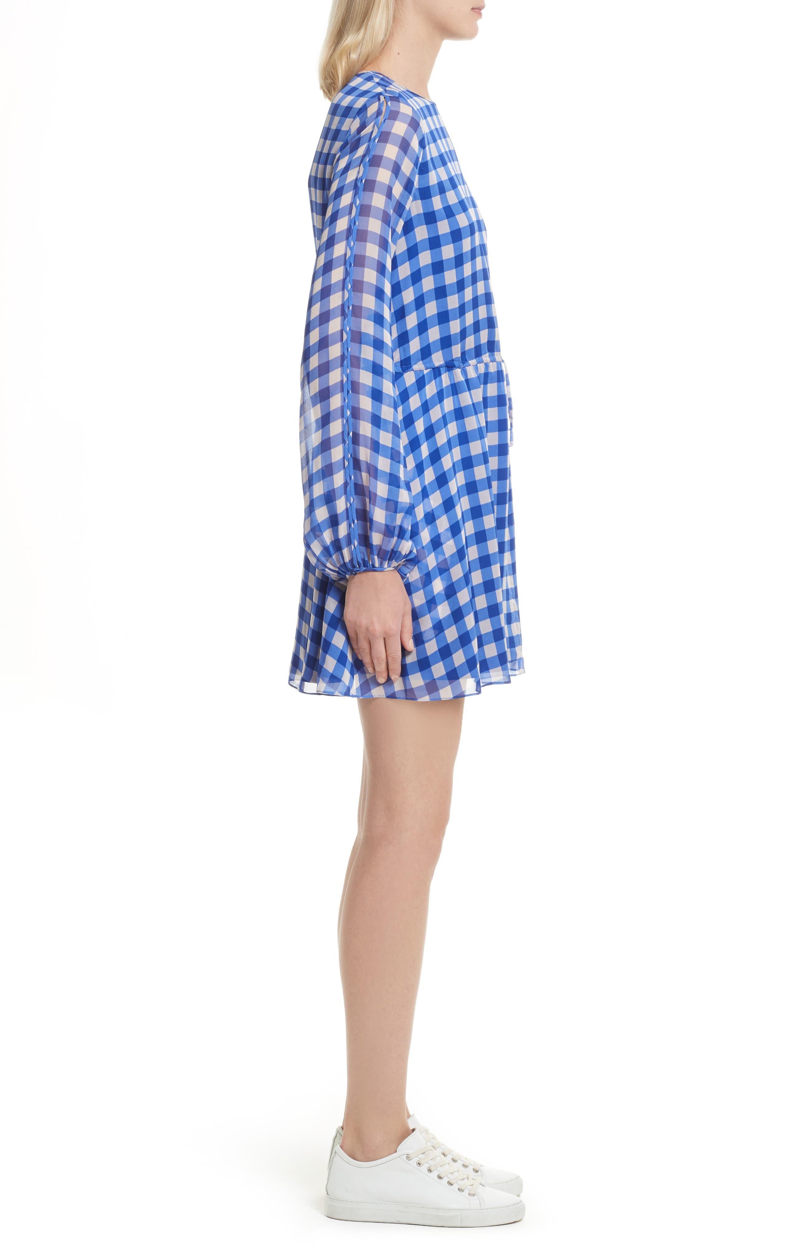 Check Silk Tie Waist Minidress,                             Alternate thumbnail 3, color,                             Klein Blue