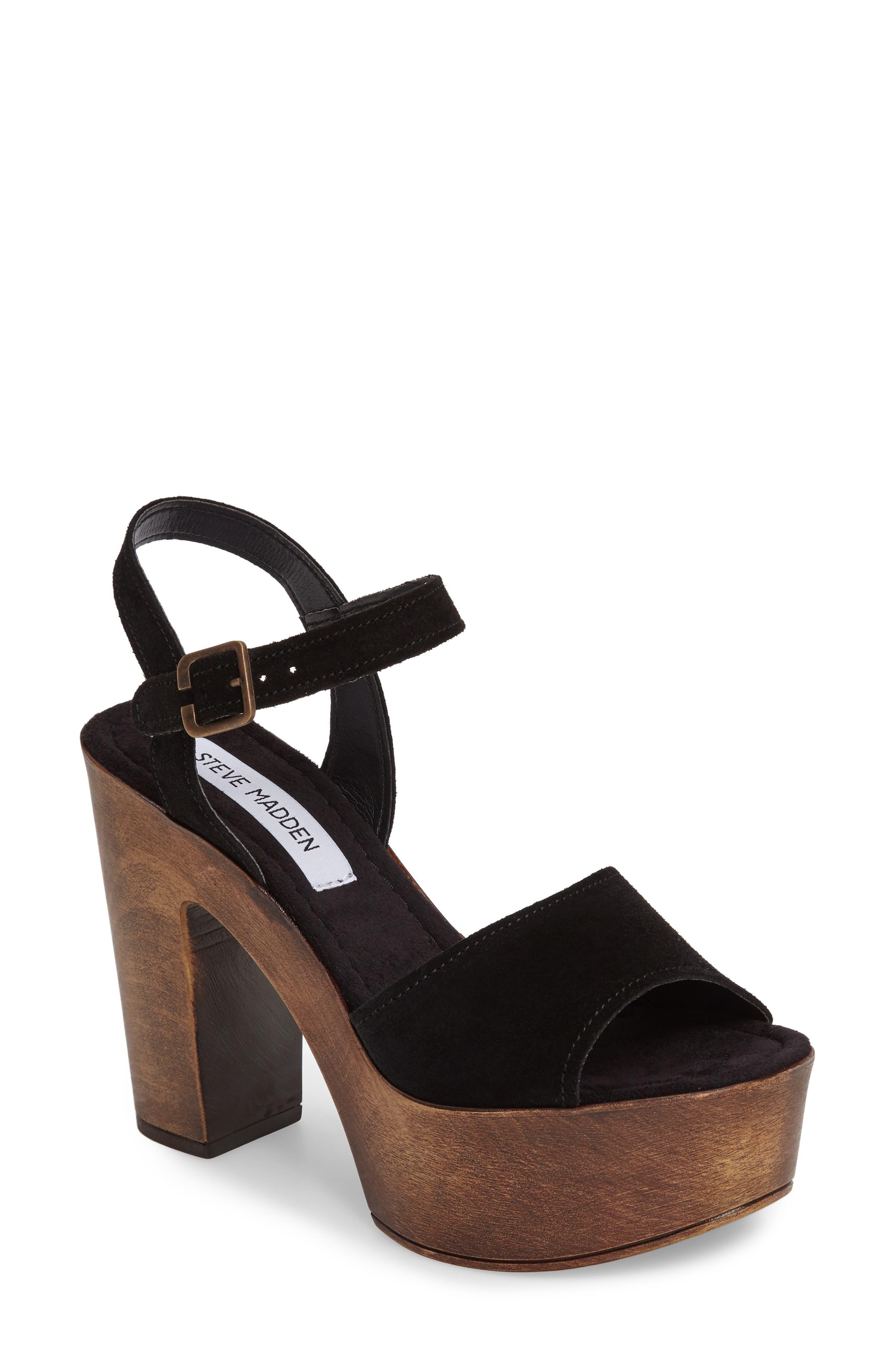 Lulla Platform Sandal,                             Main thumbnail 1, color,                             Black Suede