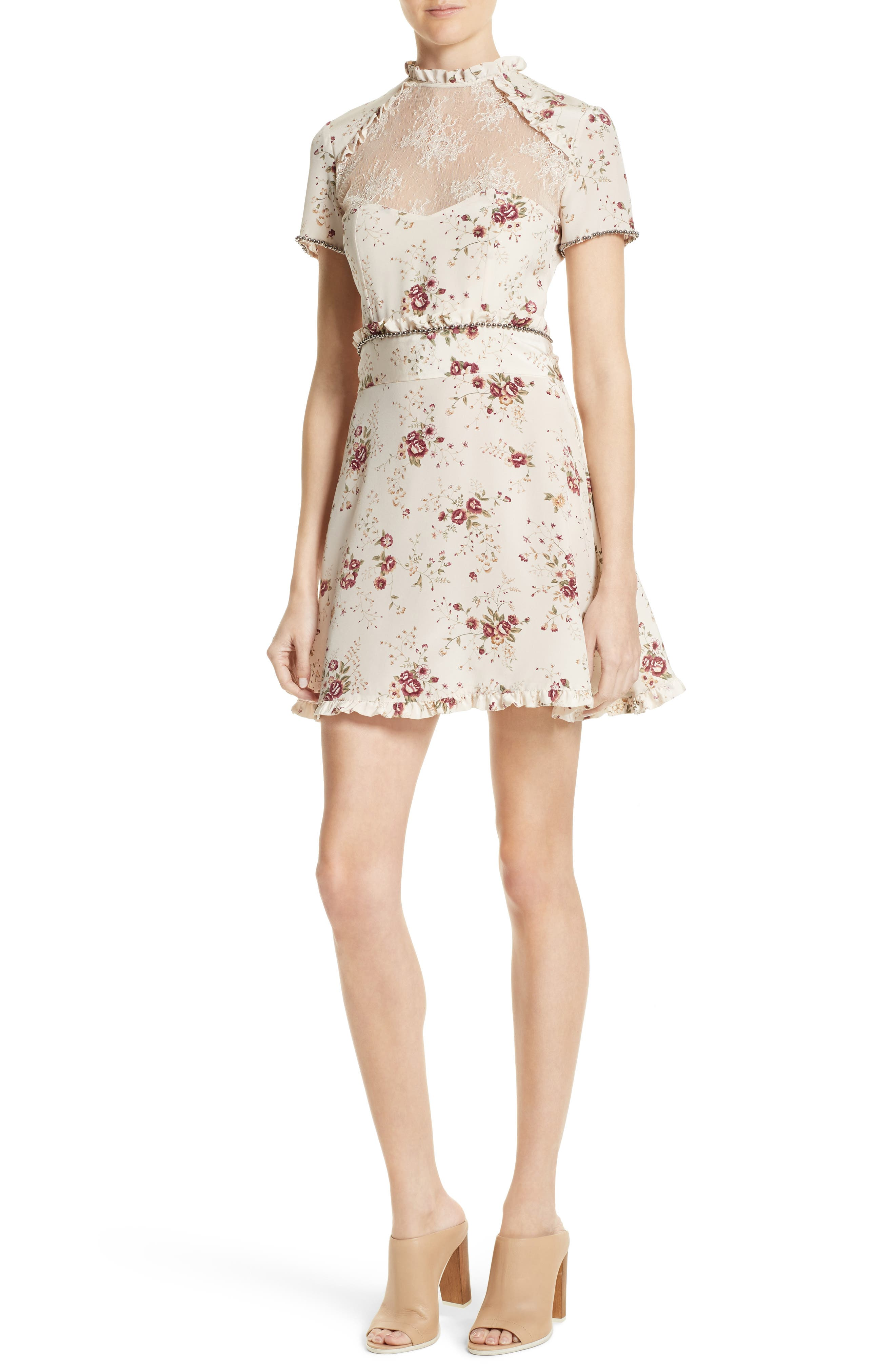 The Kooples Lace Inset Floral Silk Dress