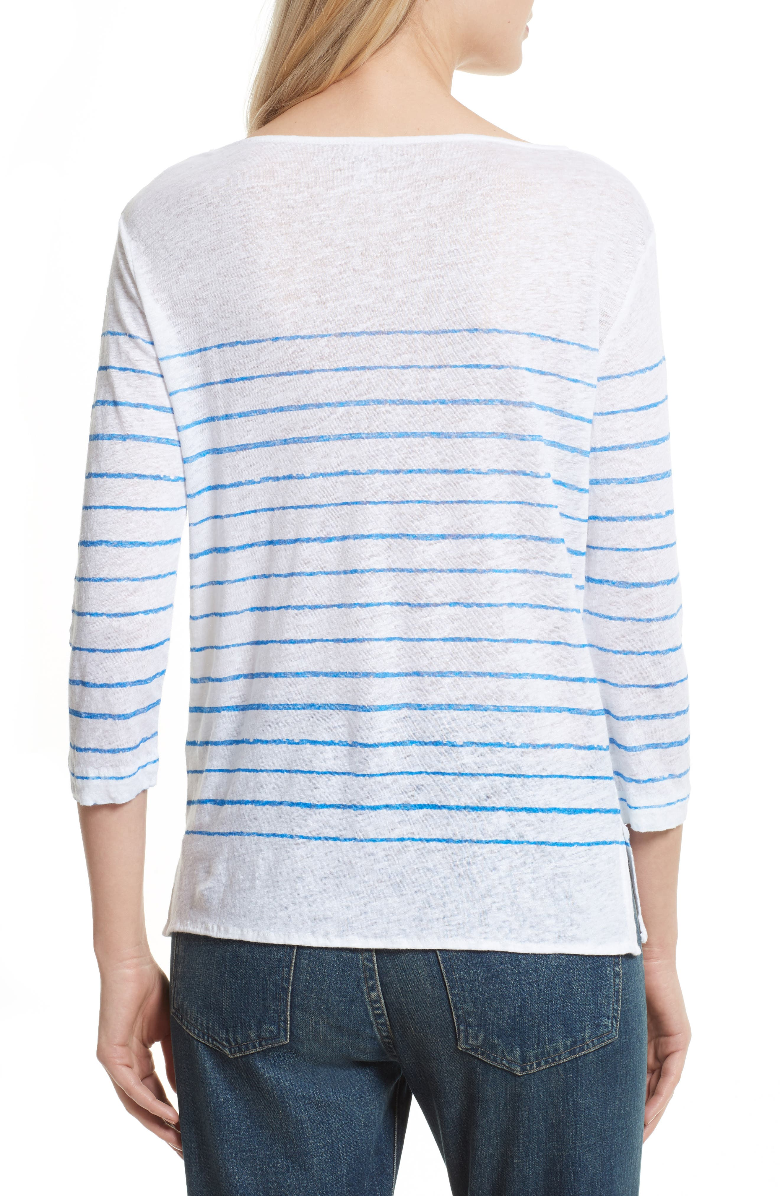 Alternate Image 2  - Majestic Filatures Vintage Stripe Linen Tee